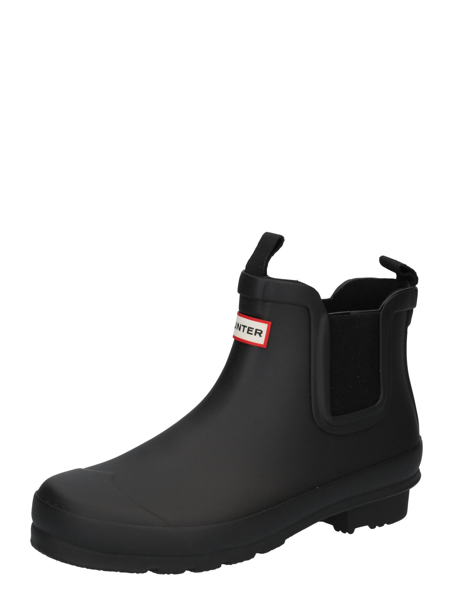 HUNTER Guminiai batai juoda / balta / šviesiai raudona
