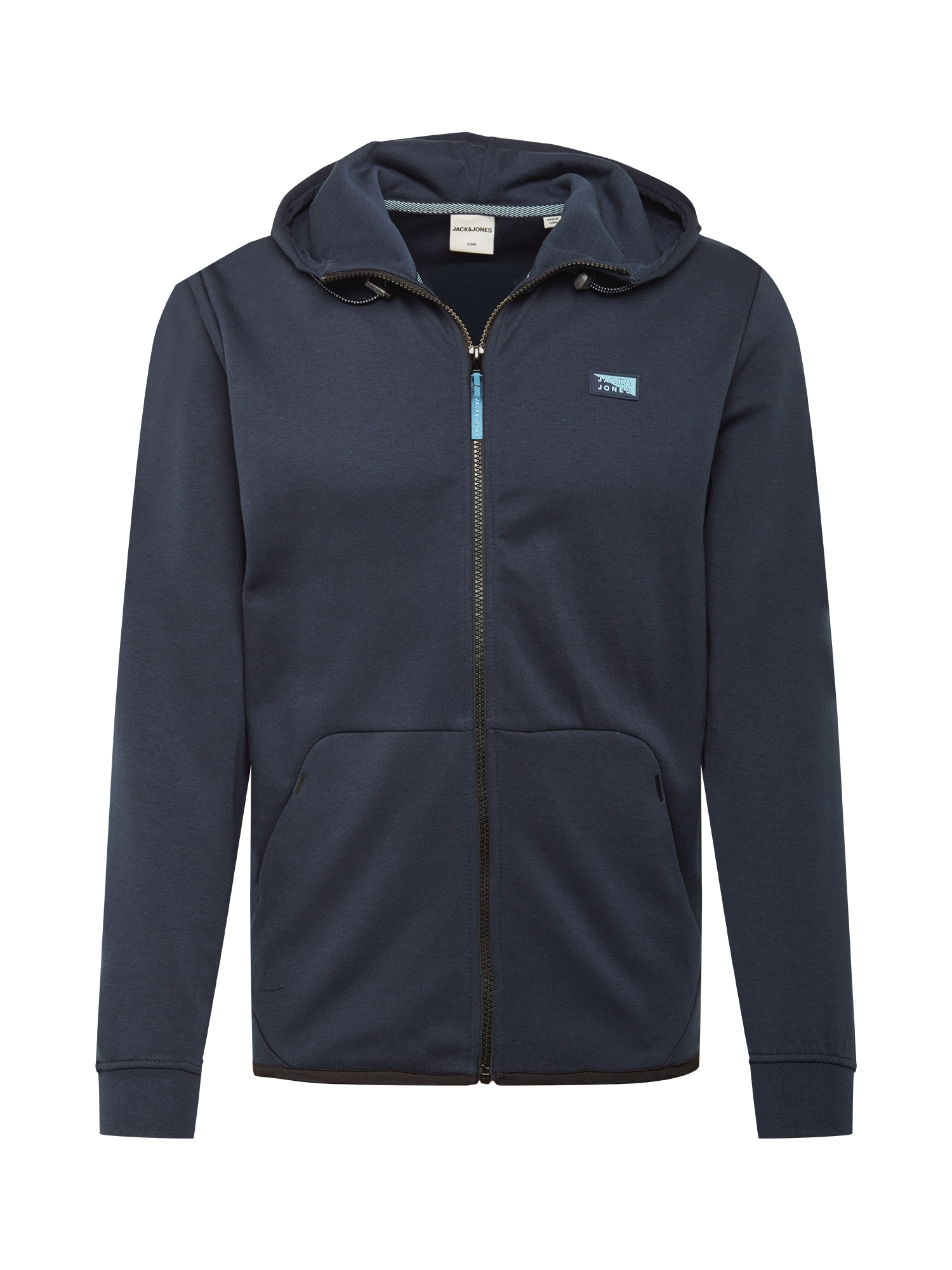 JACK & JONES Džemperis 'JCOAIR SWEAT ZIP HOOD NOOS' tamsiai mėlyna