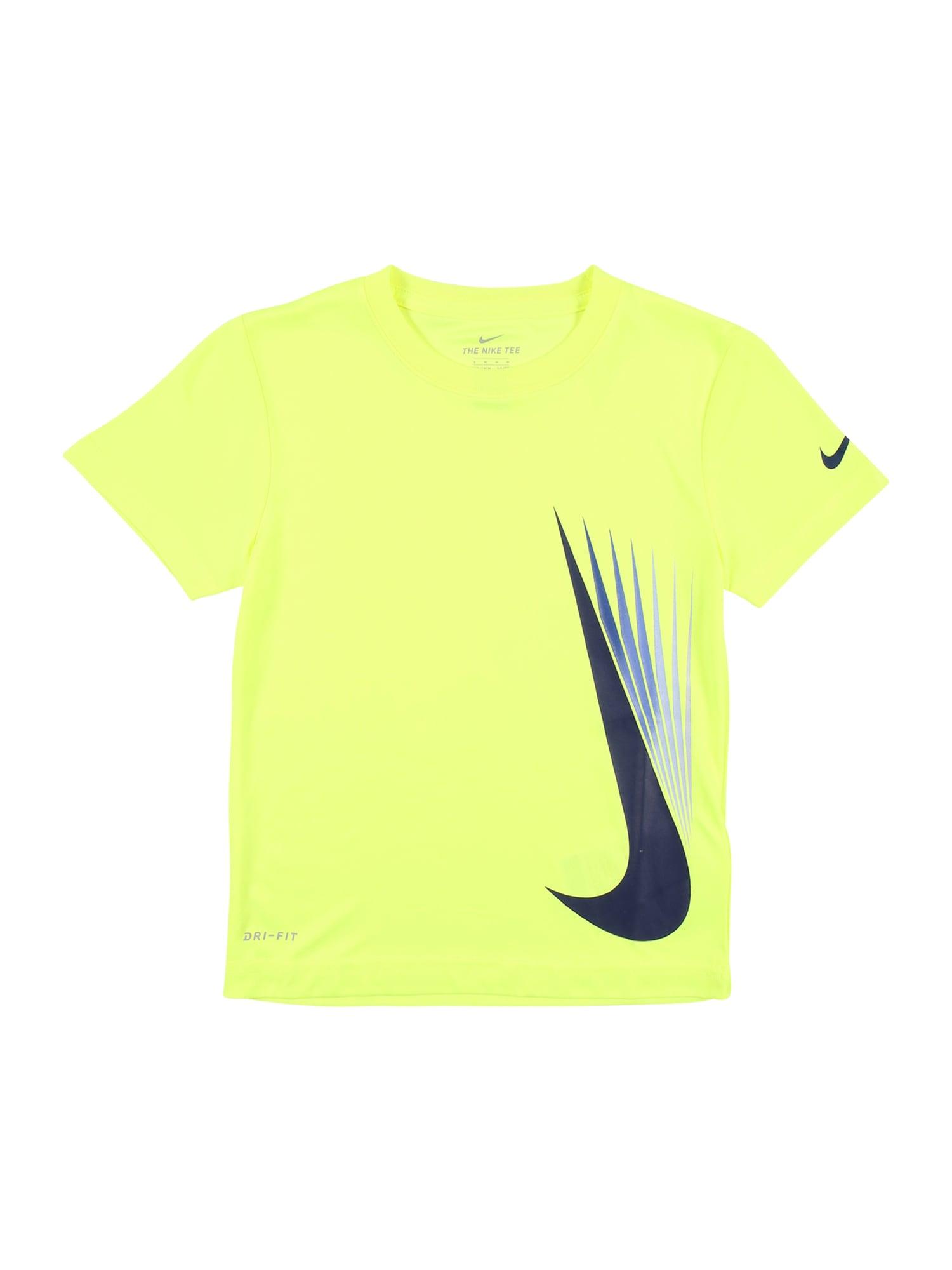 NIKE Sportiniai marškinėliai nendrių spalva / tamsiai mėlyna