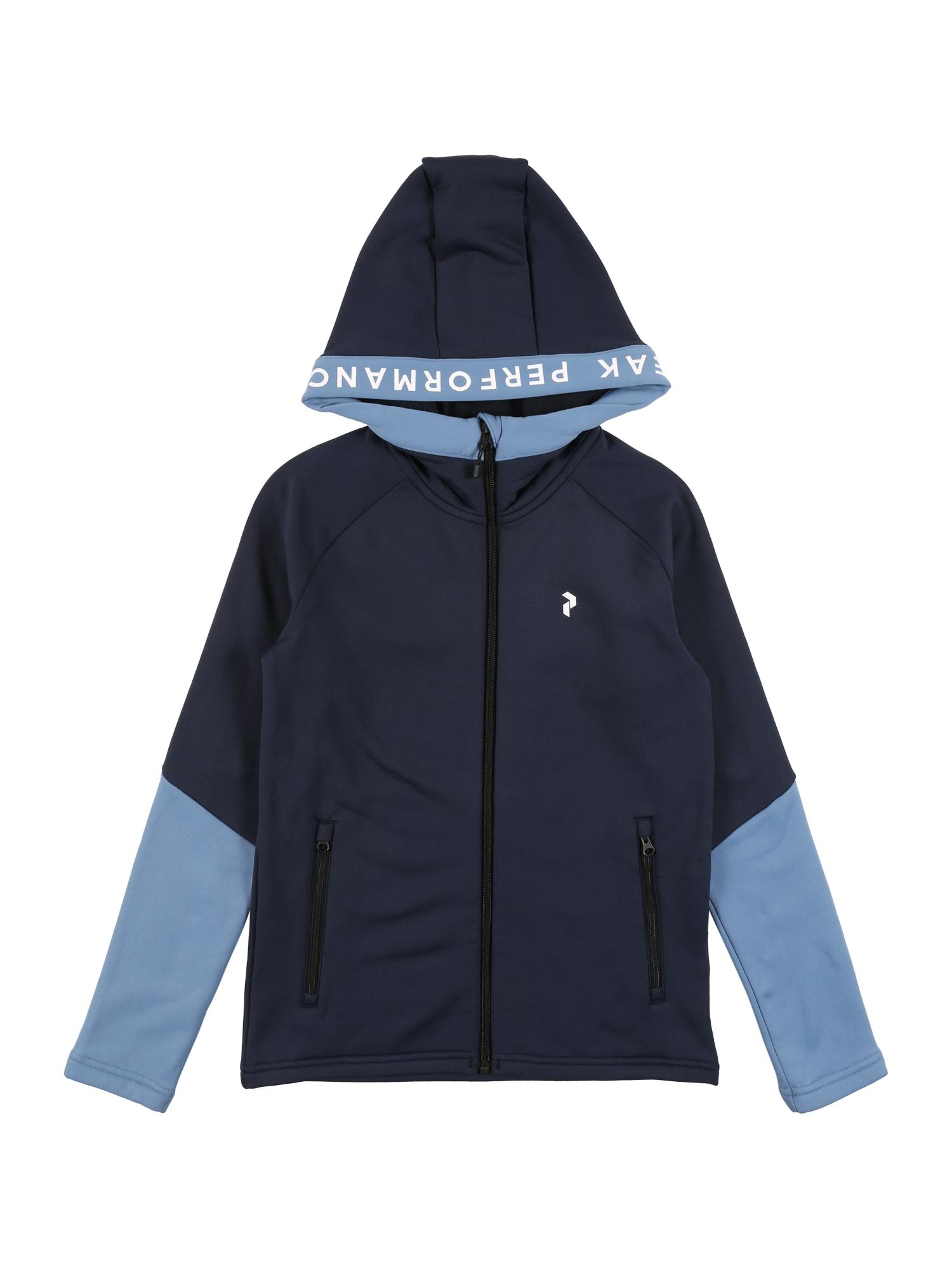 PEAK PERFORMANCE Sportinis džemperis 'Rider' tamsiai mėlyna / melsvai pilka / balta