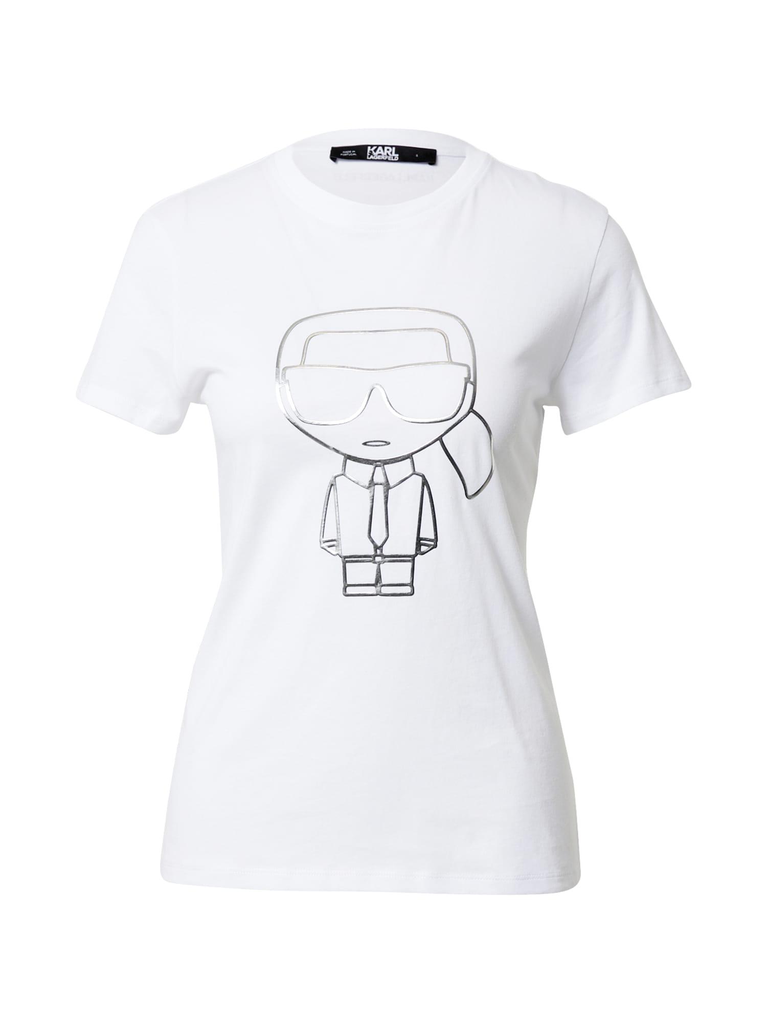 Karl Lagerfeld Marškinėliai balta / sidabrinė