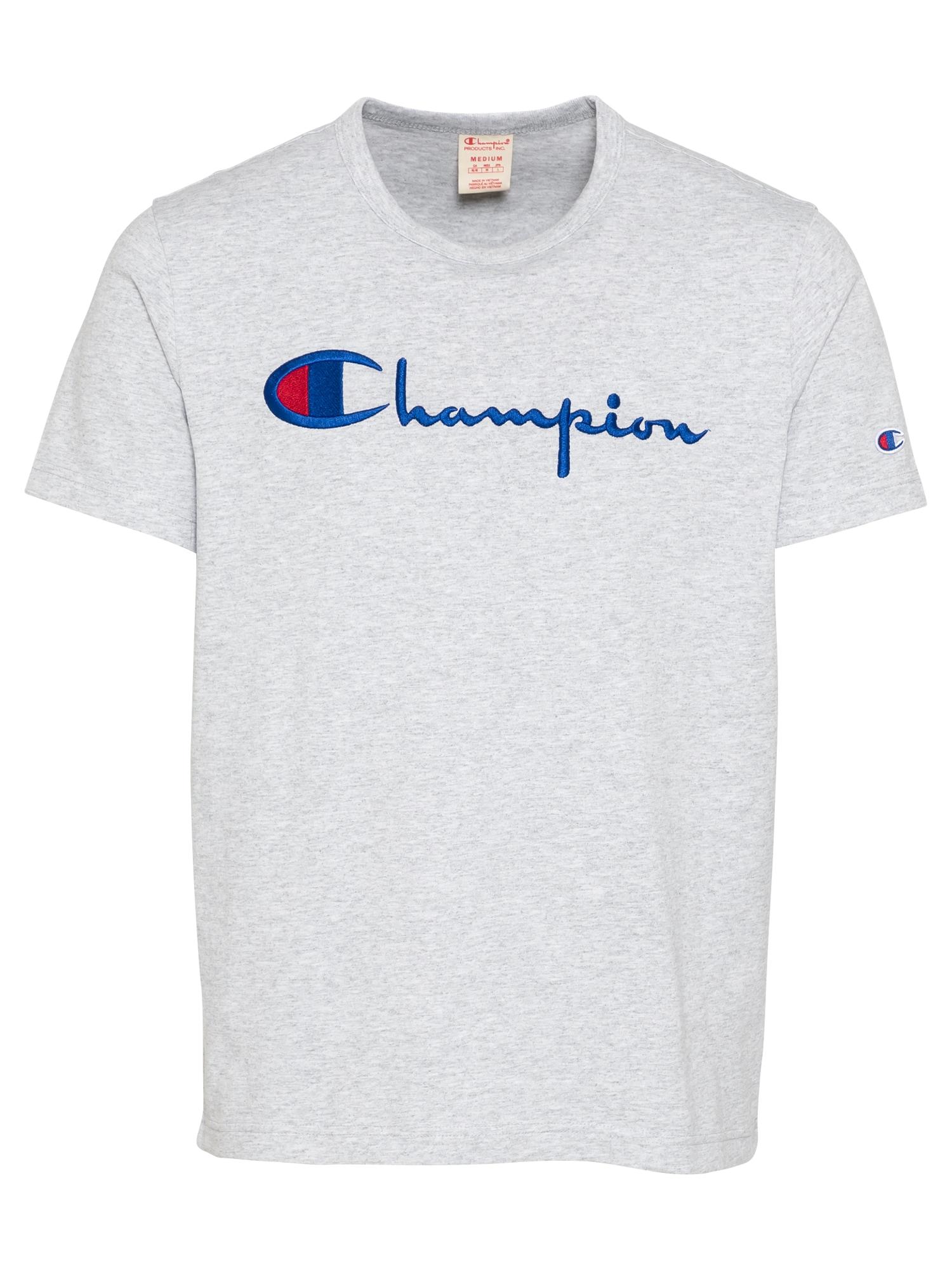 Champion Reverse Weave Marškinėliai šviesiai pilka / tamsiai mėlyna / raudona