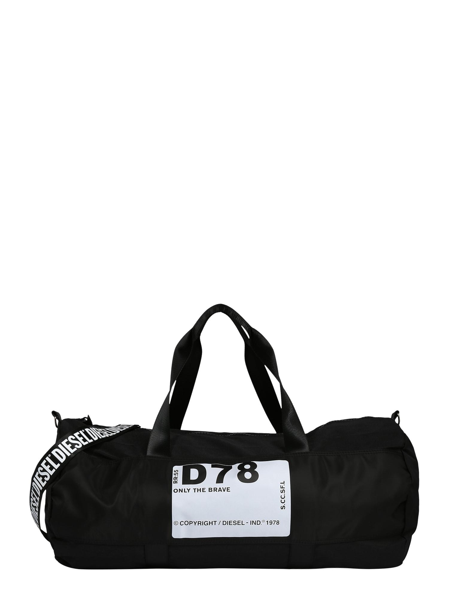DIESEL Kelioninis krepšys juoda / balta