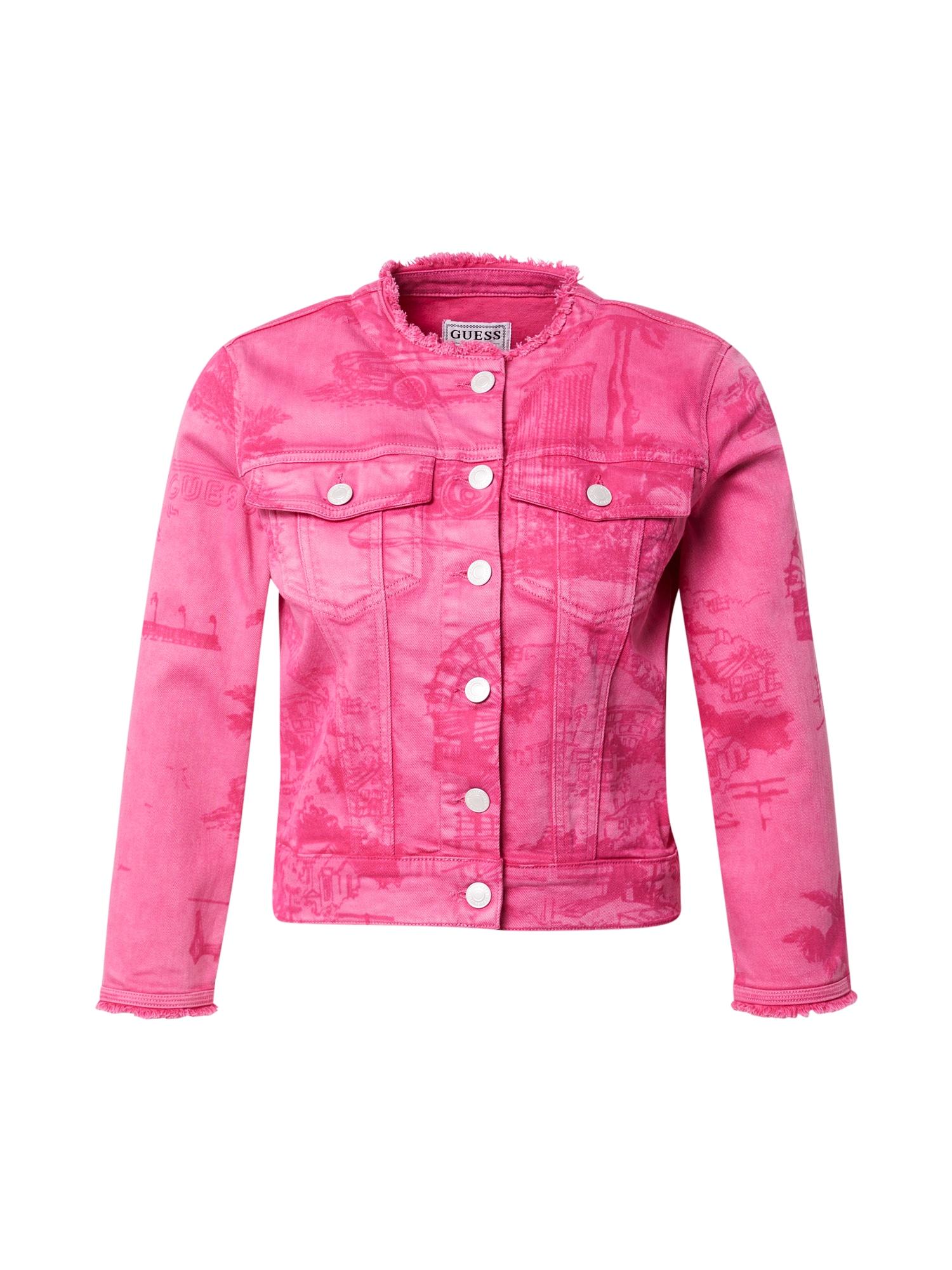 GUESS Demisezoninė striukė rožinė / tamsiai rožinė
