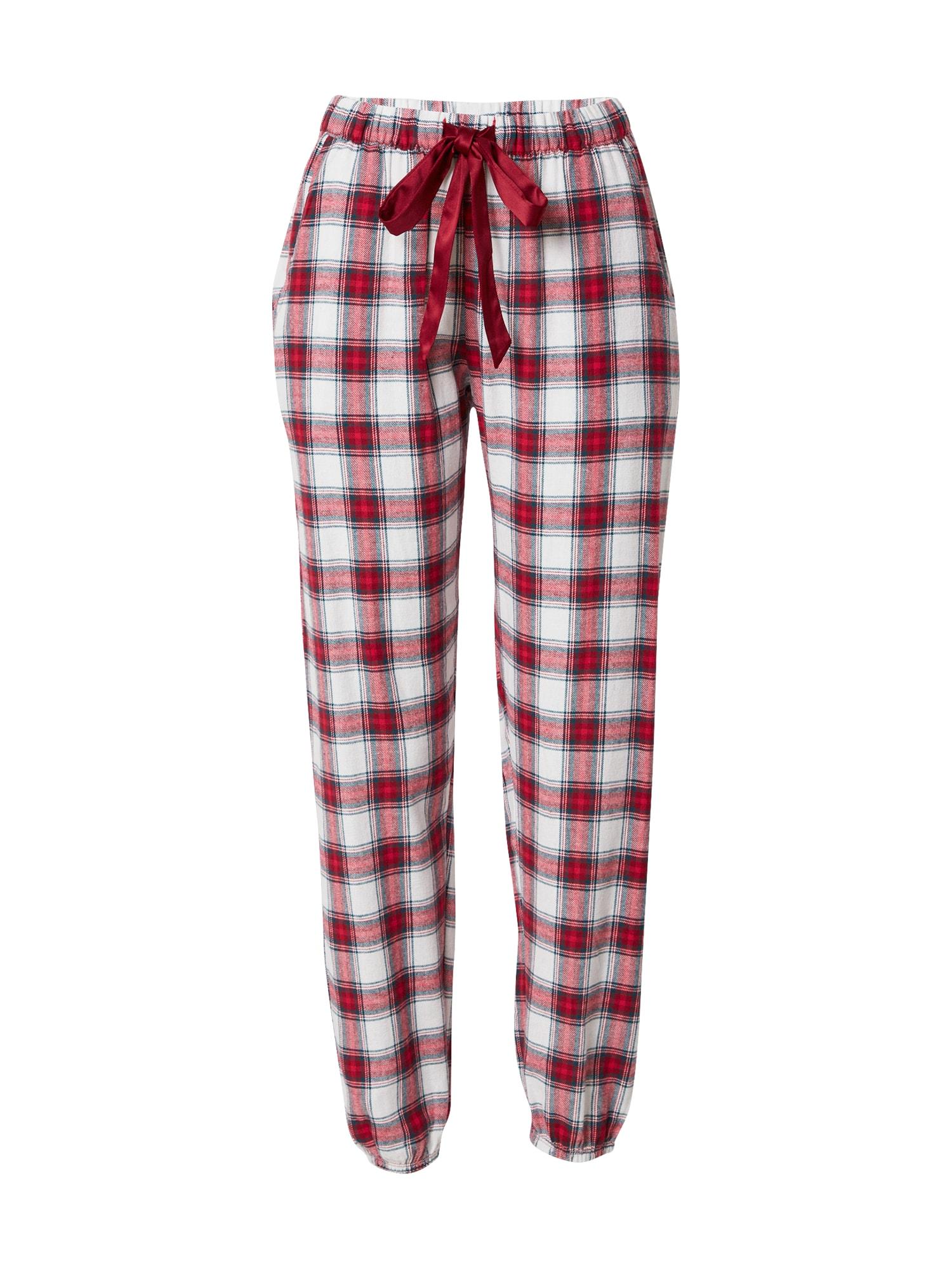 Hunkemöller Pyžamové kalhoty  tmavě červená / bílá / černá