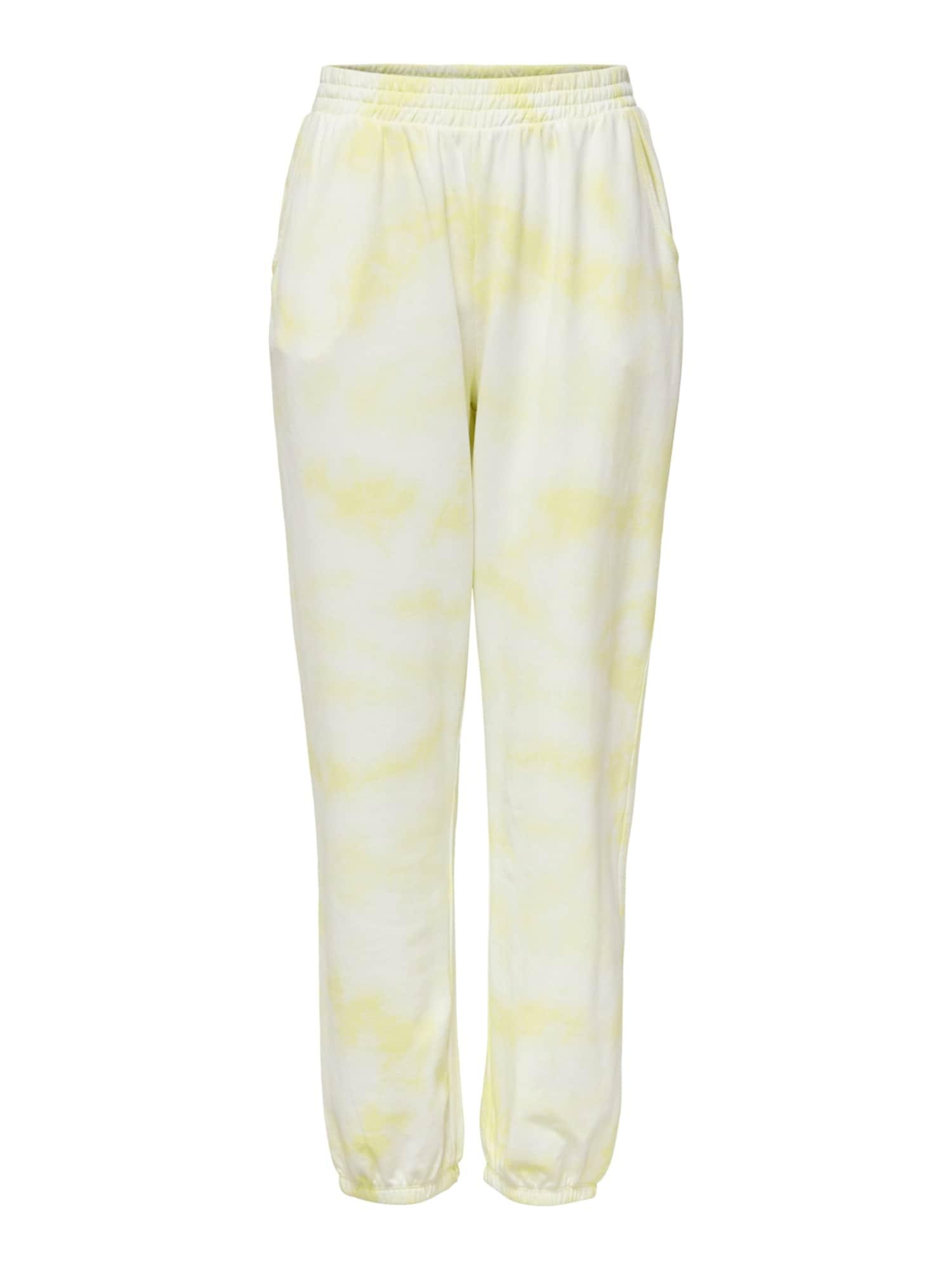 ONLY Kalhoty 'Hella'  žlutá / bílá