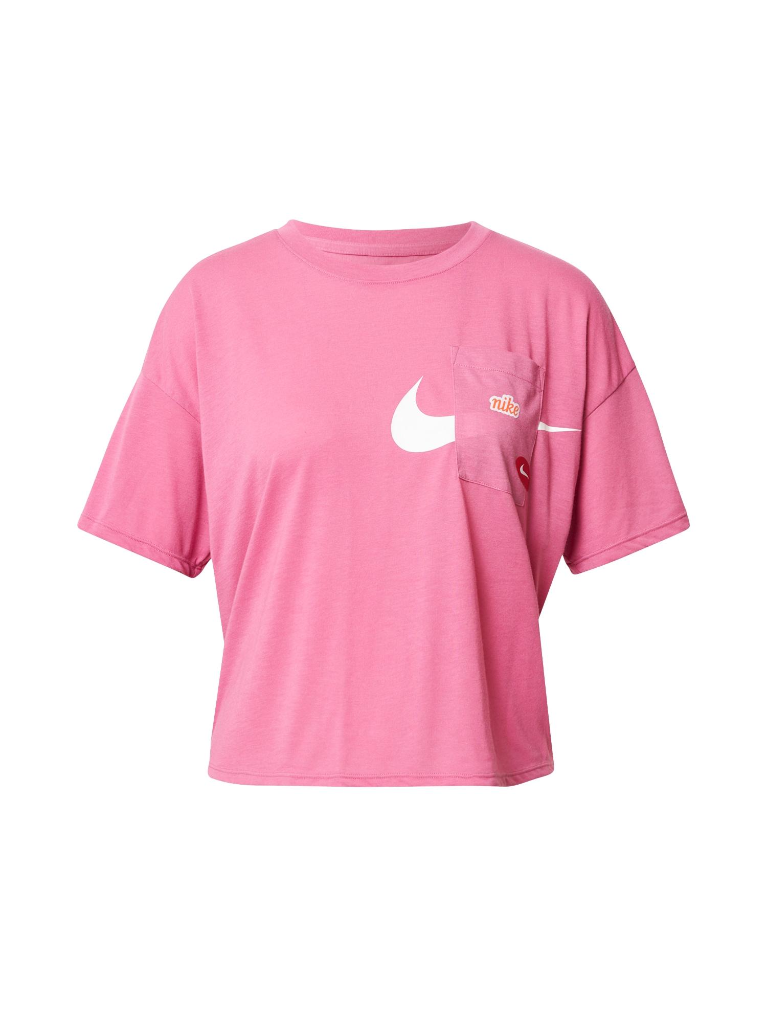 NIKE Funkční tričko  bílá / pink / červená