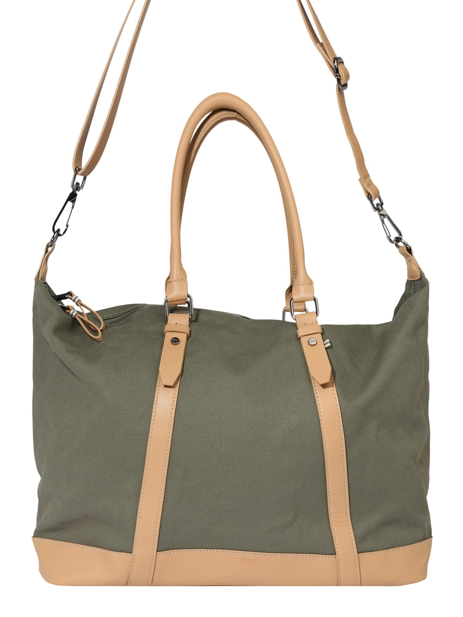 ESPRIT Kelioninis krepšys alyvuogių spalva / smėlio