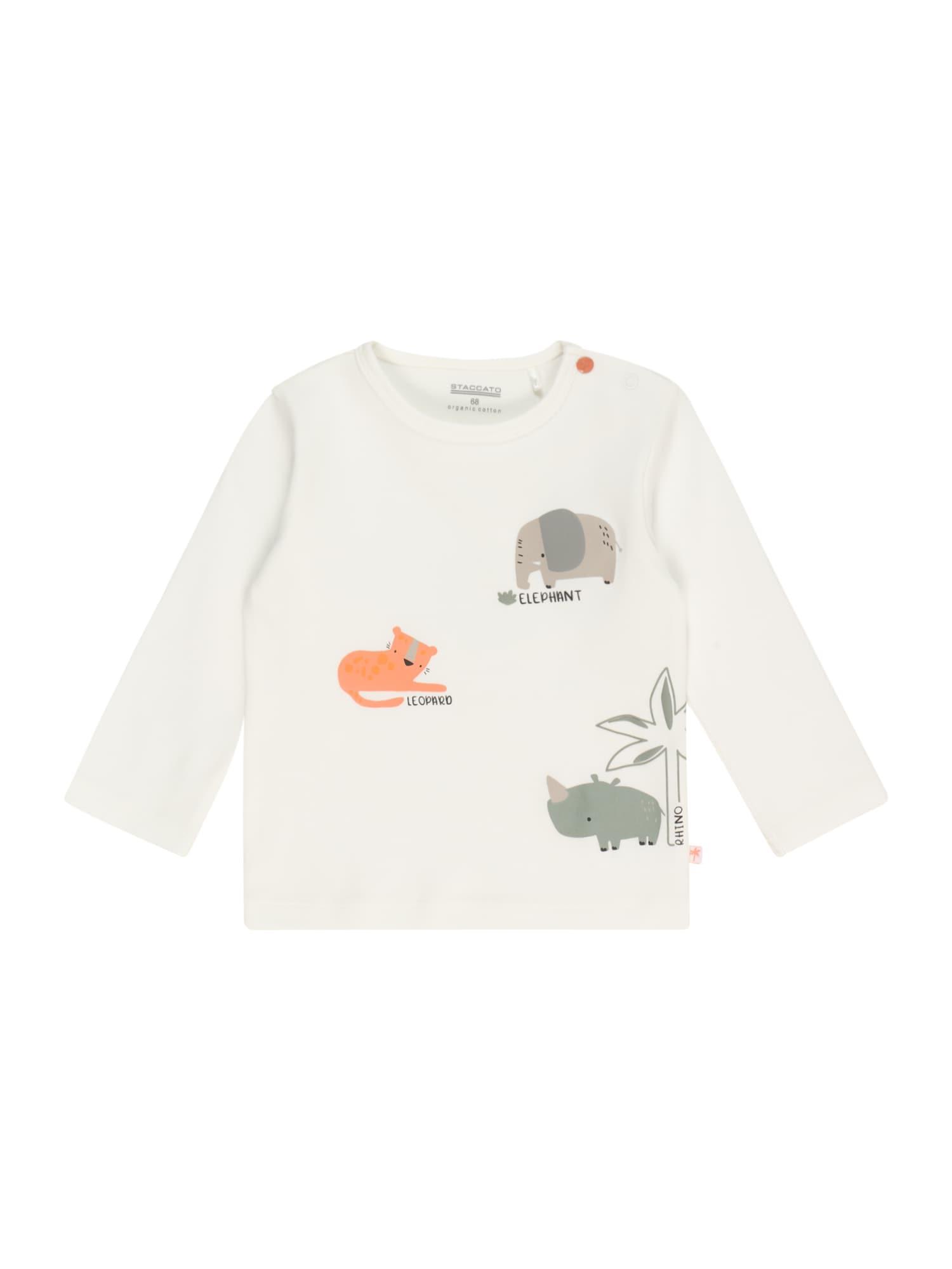 STACCATO Marškinėliai balkšva / juoda / pudros spalva / šviesiai oranžinė / rusvai žalia
