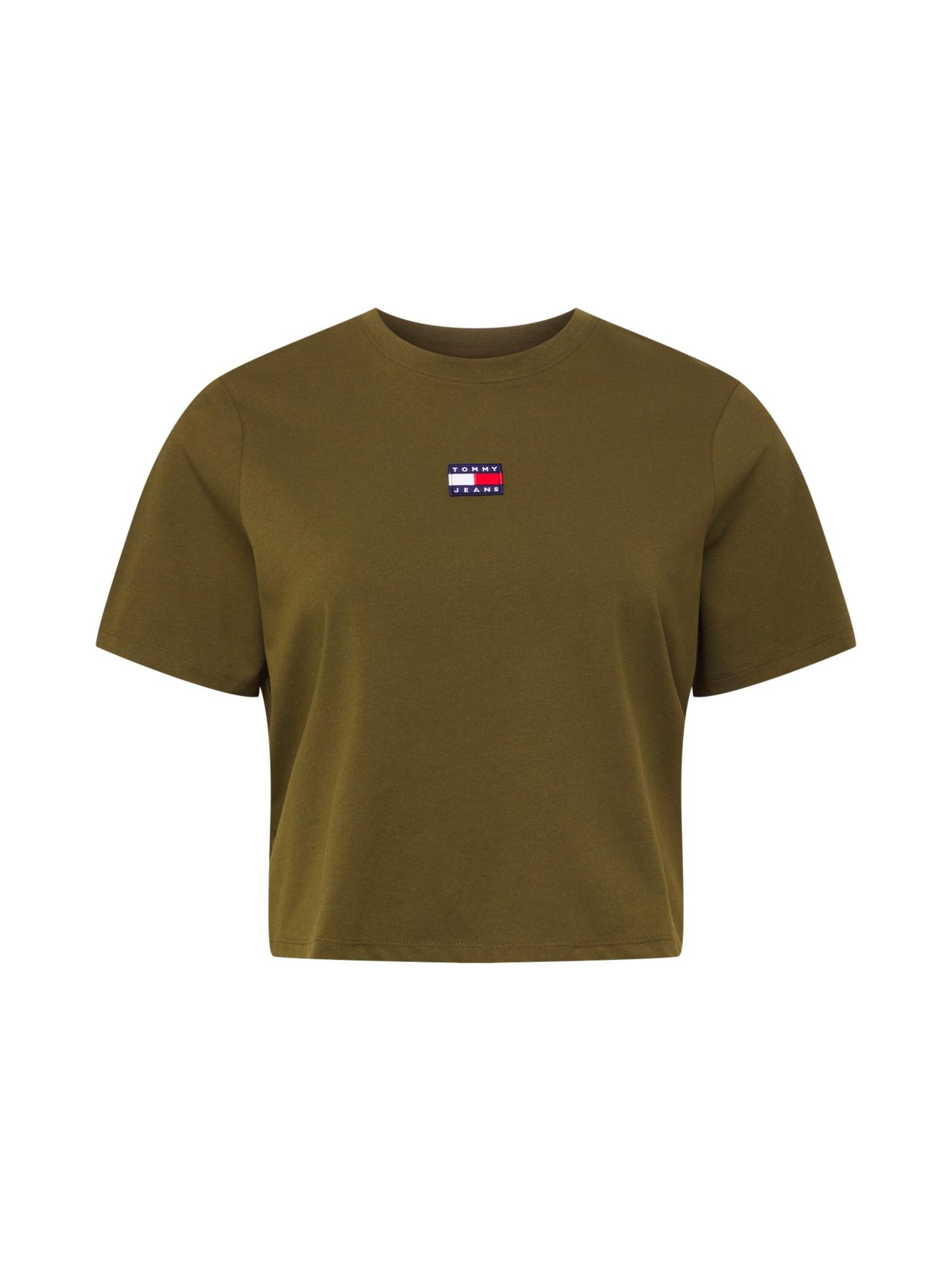 Tommy Jeans Curve Marškinėliai alyvuogių spalva / tamsiai mėlyna / balta / raudona