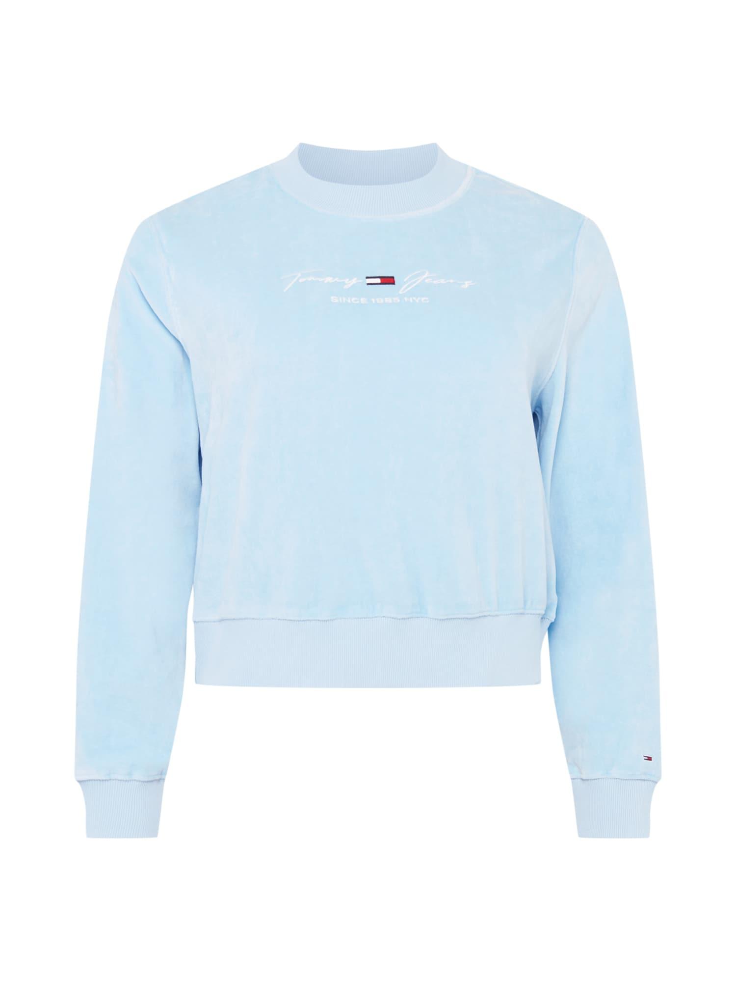 Tommy Jeans Curve Megztinis be užsegimo pastelinė mėlyna / balta / tamsiai mėlyna jūros spalva / raudona