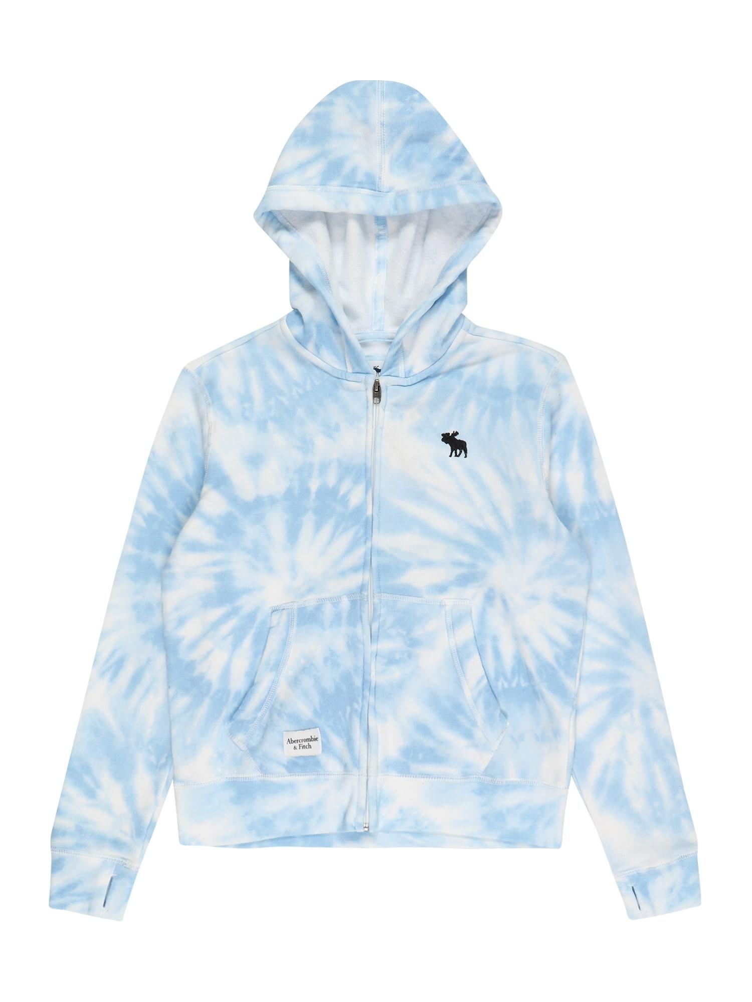 Abercrombie & Fitch Flisinis džemperis mėlyna dūmų spalva / balta