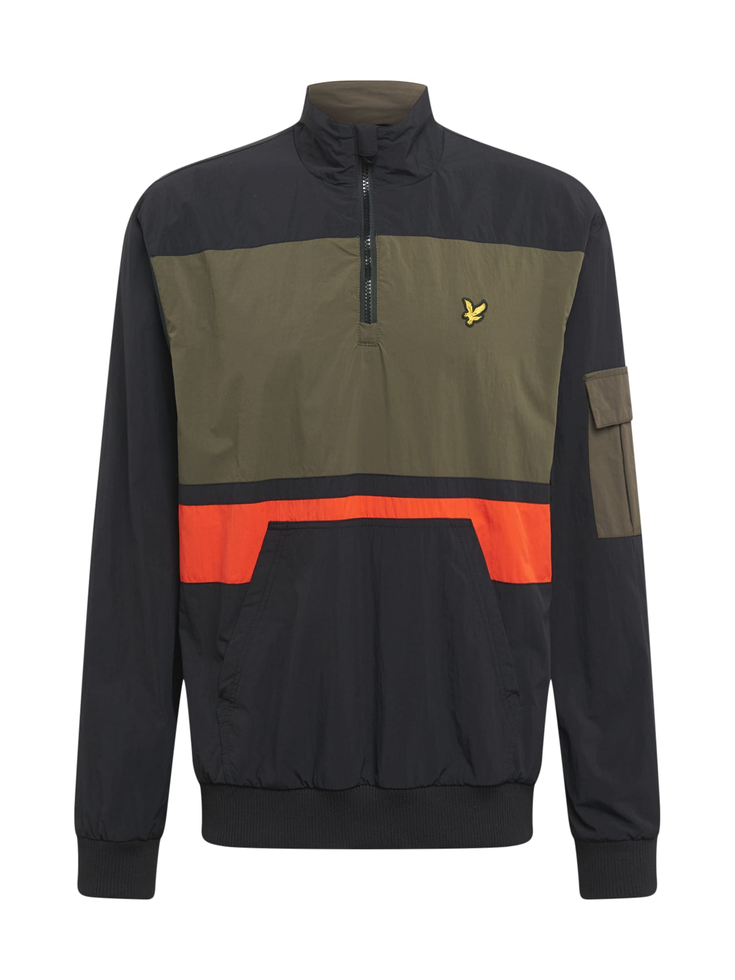 Lyle & Scott Demisezoninė striukė juoda / rusvai žalia / oranžinė