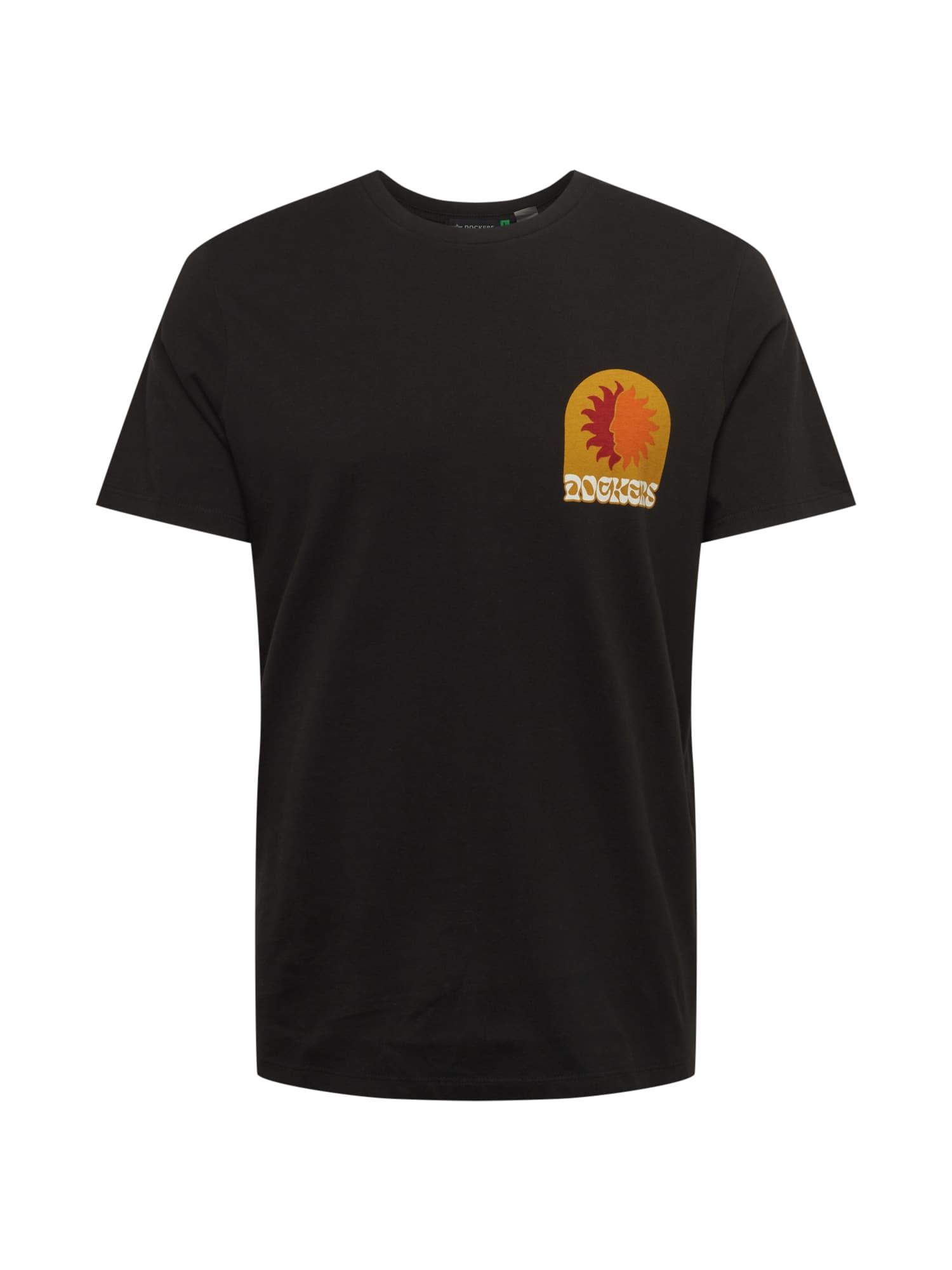 Dockers Marškinėliai juoda / tamsiai geltona / oranžinė / raudona / balta
