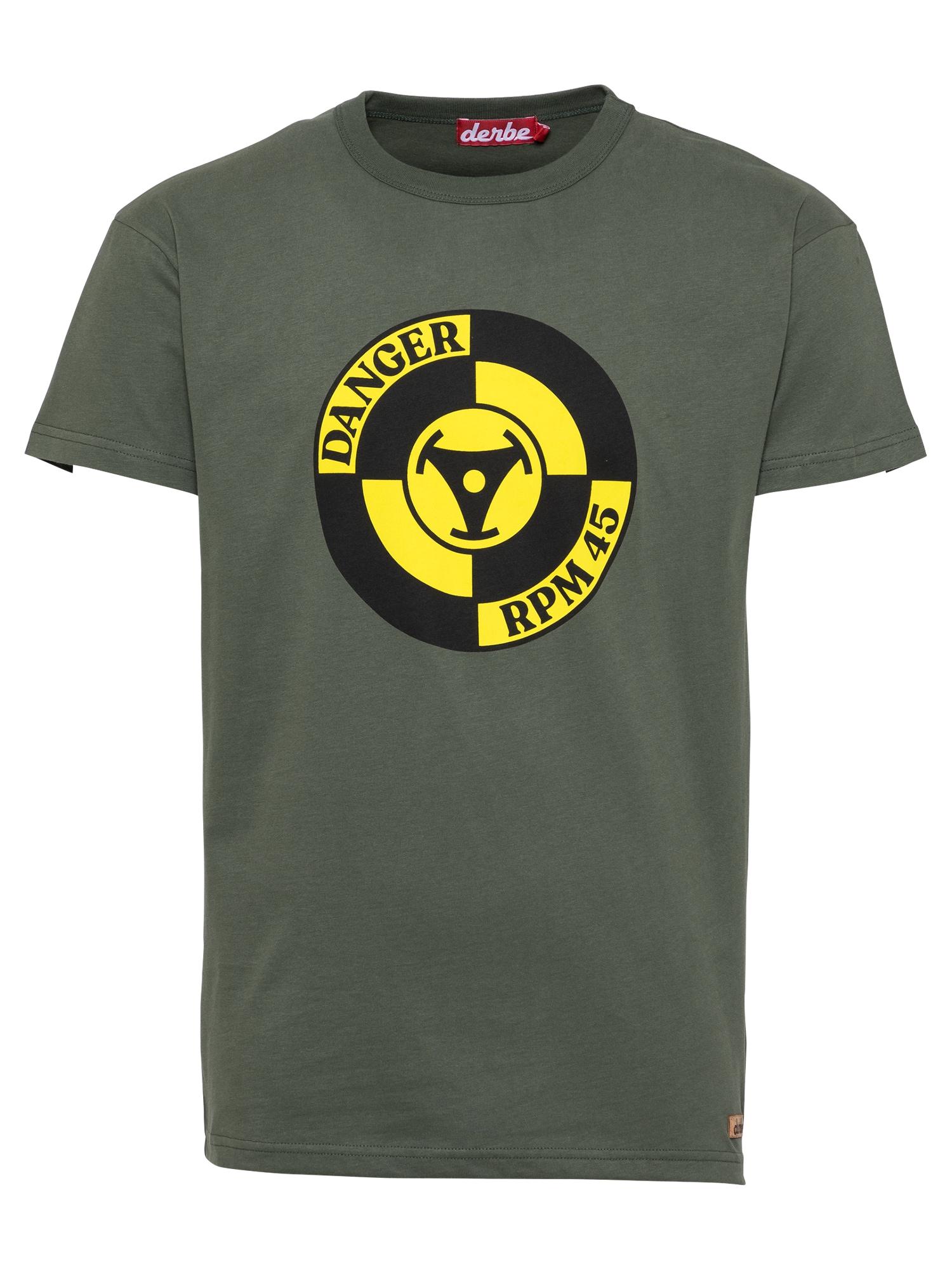 Derbe Marškinėliai alyvuogių spalva / geltona / juoda