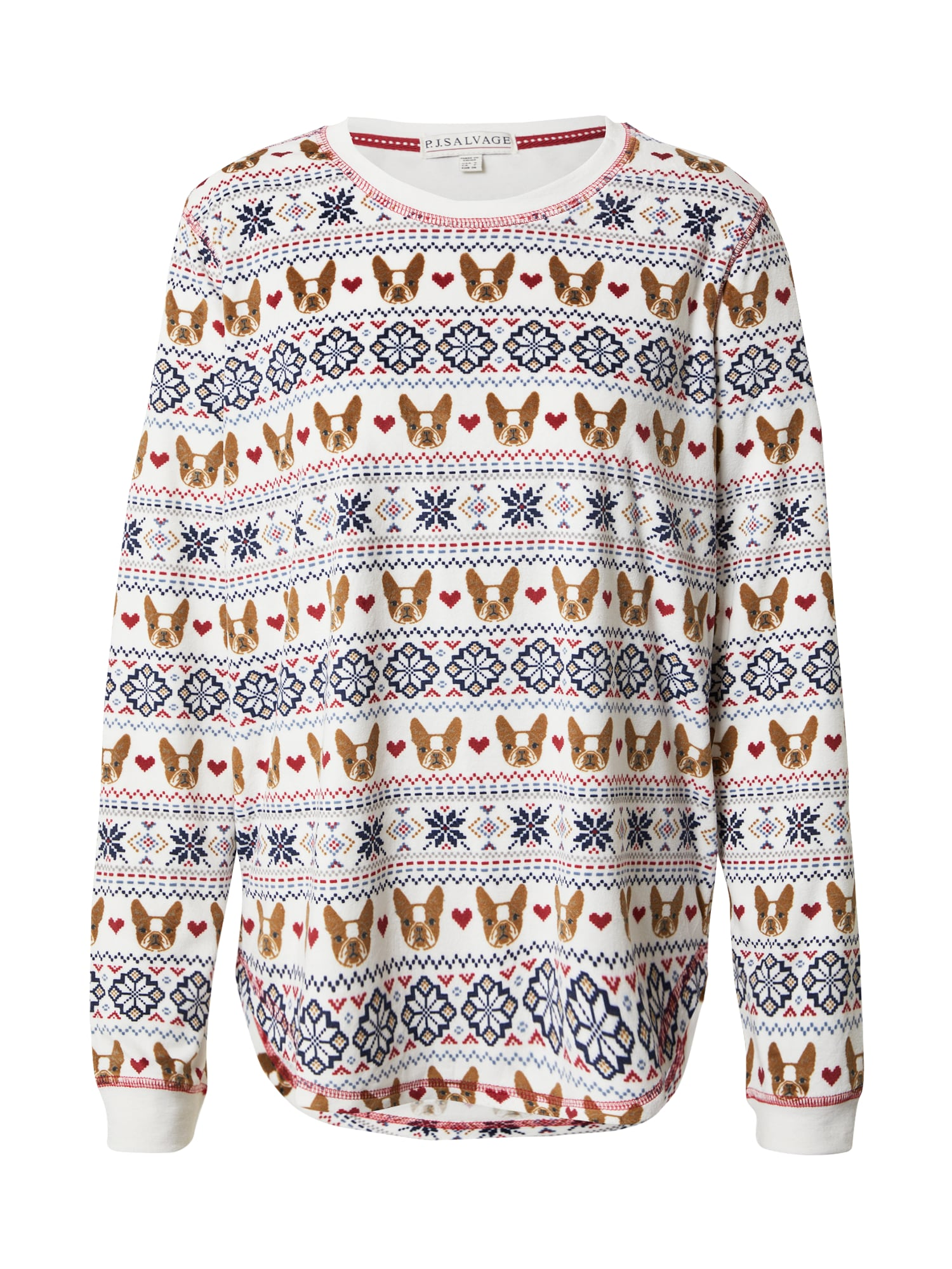 PJ Salvage Pižaminiai marškinėliai balta / tamsiai mėlyna / raudona / ruda
