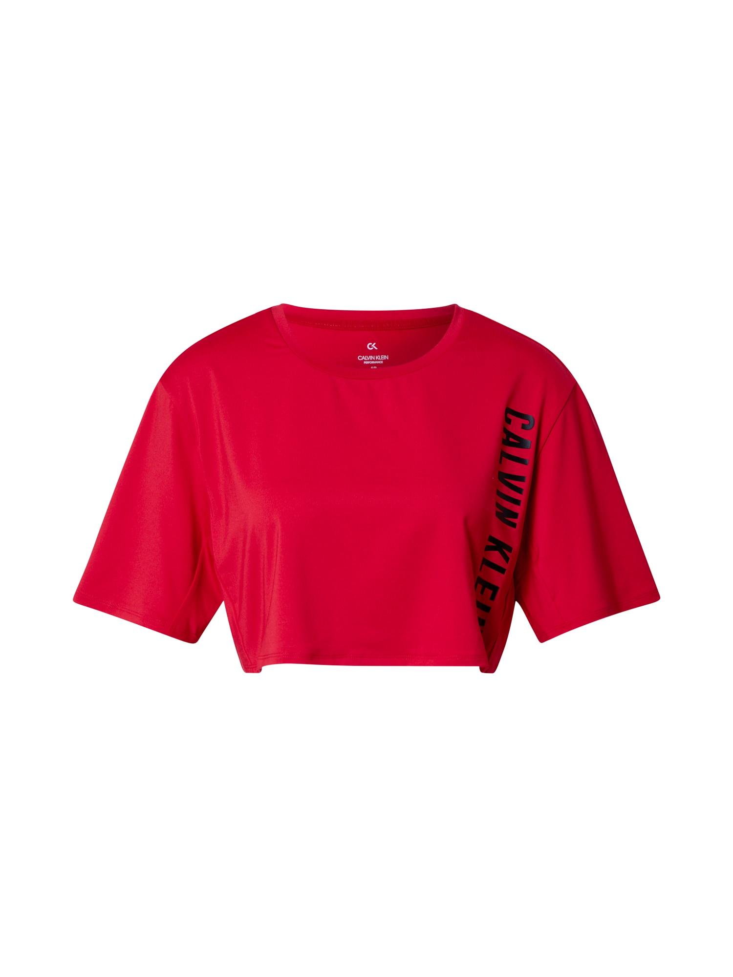 Calvin Klein Performance Sportiniai marškinėliai raudona / juoda