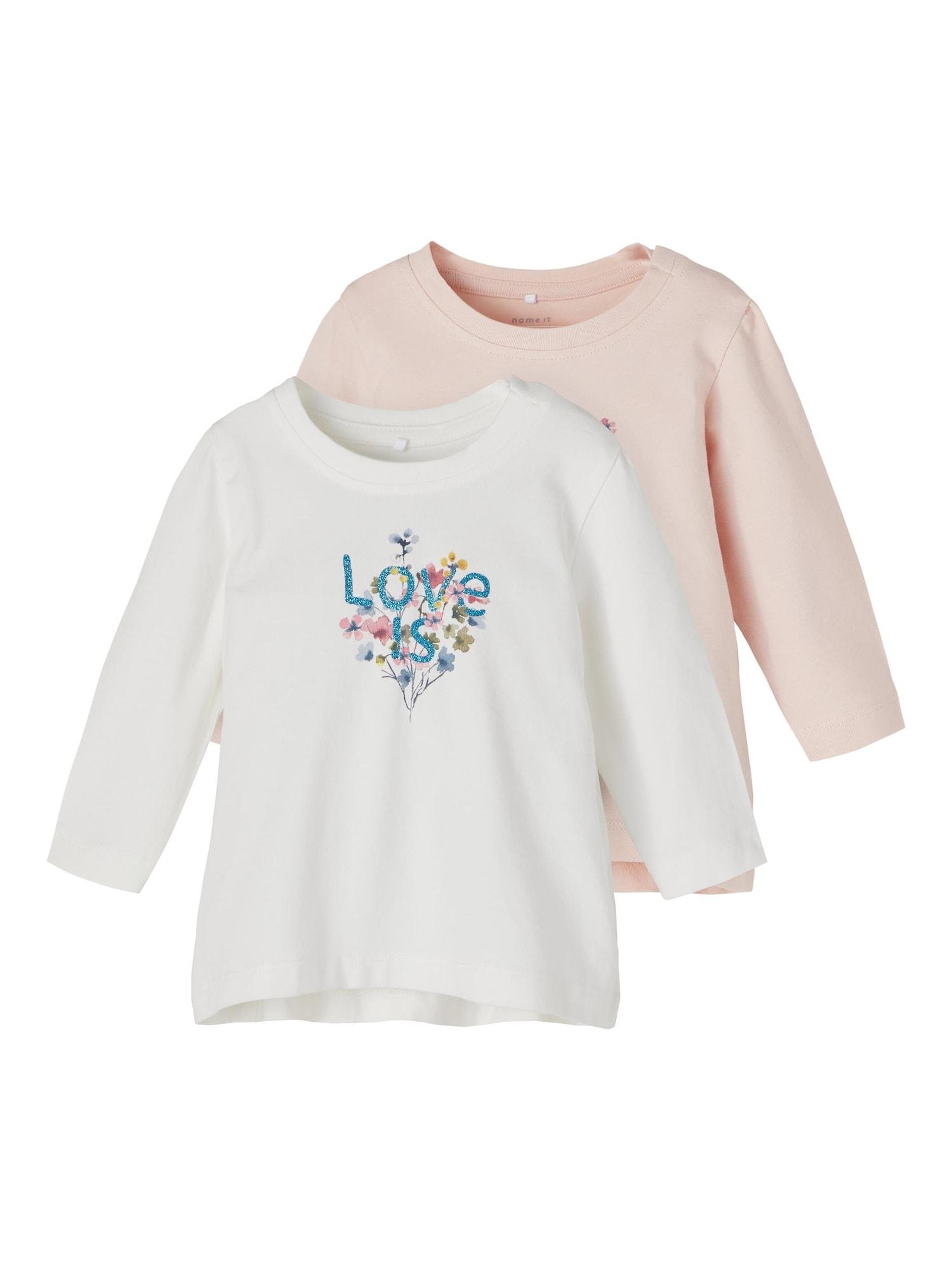 NAME IT Marškinėliai 'Tora' natūrali balta / pudros spalva / mišrios spalvos / mėlyna