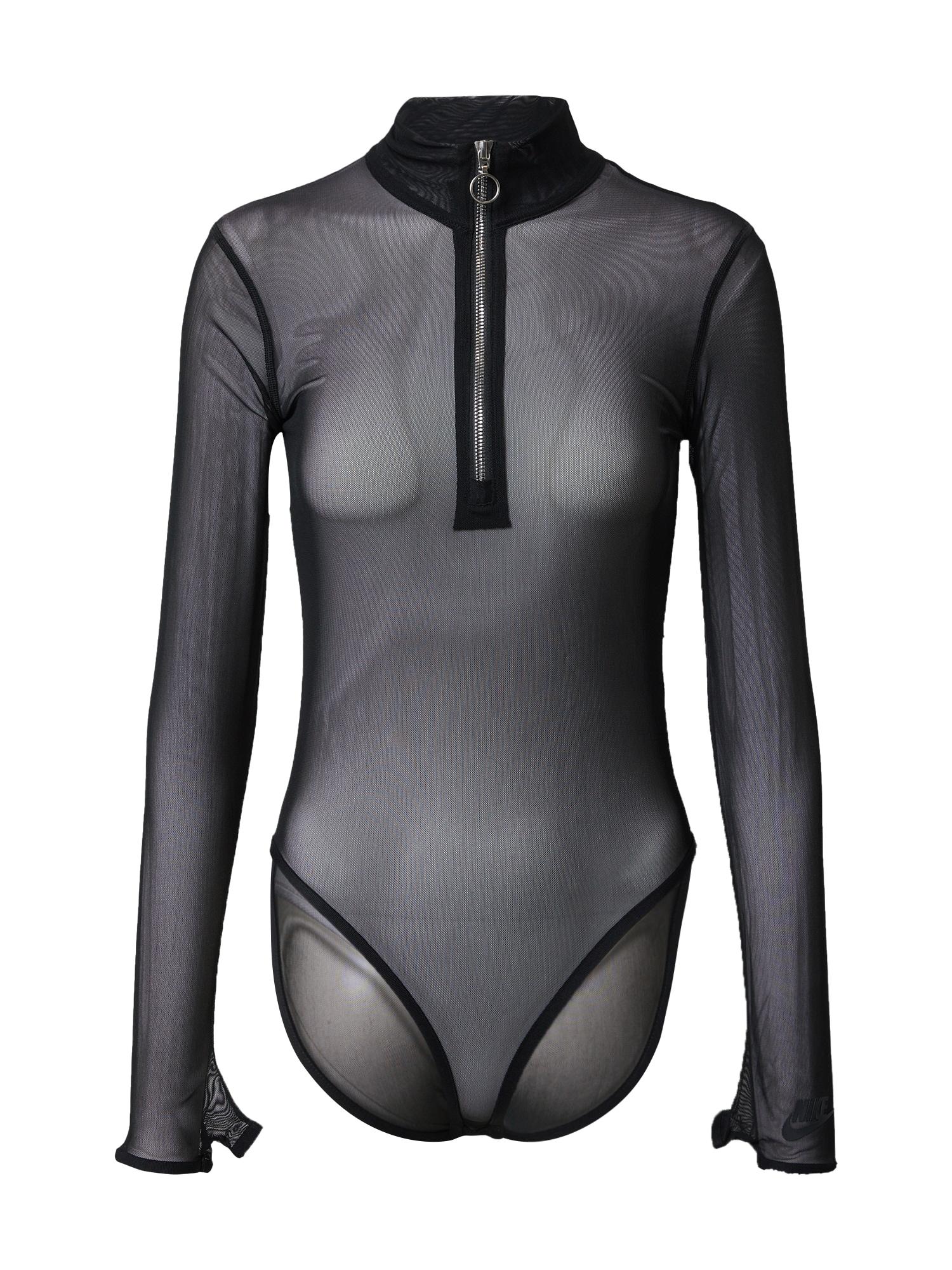 Nike Sportswear Marškinėliai-glaustinukė juoda / pilka