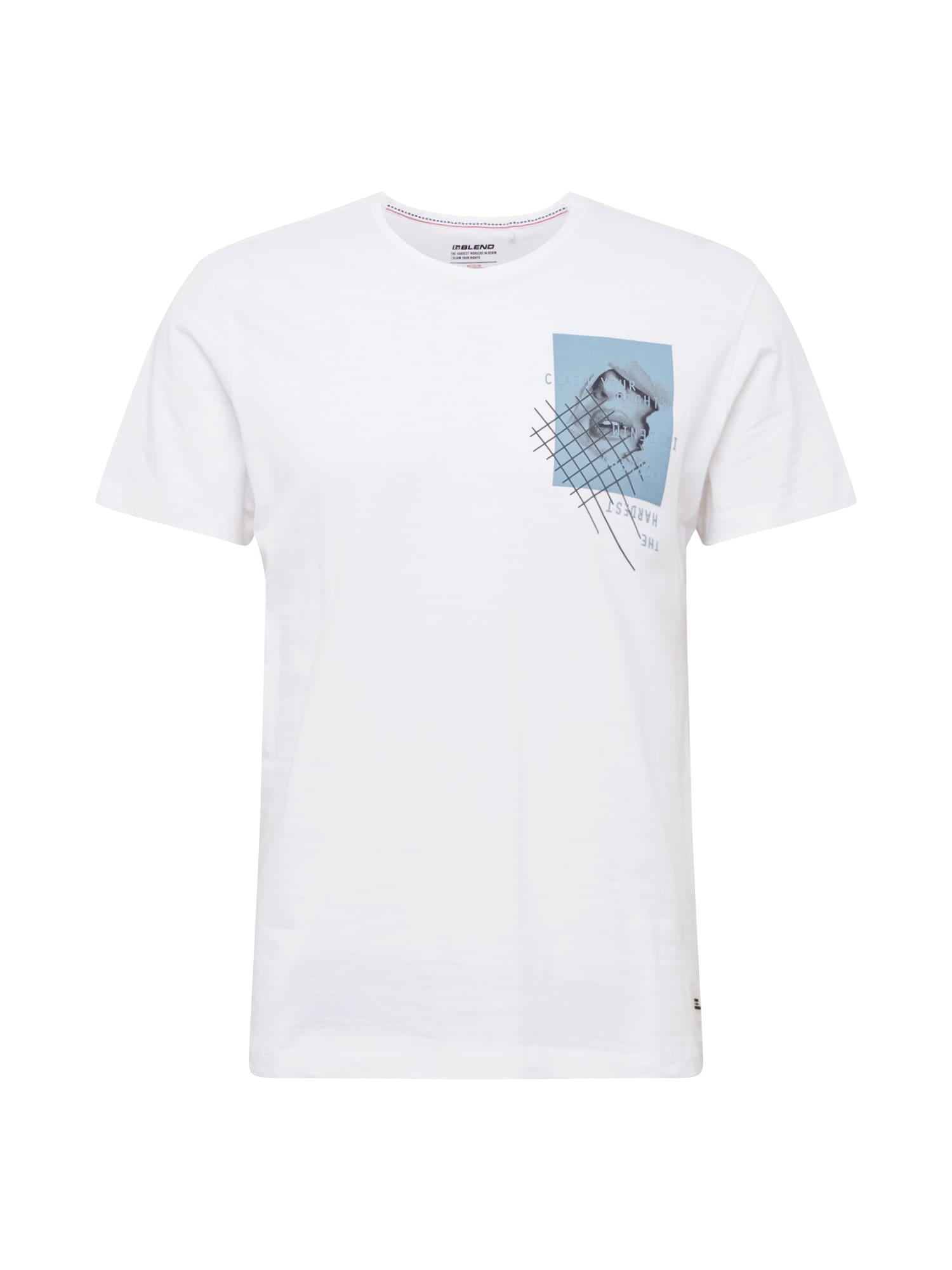 BLEND Marškinėliai balkšva / mėlyna dūmų spalva / tamsiai pilka