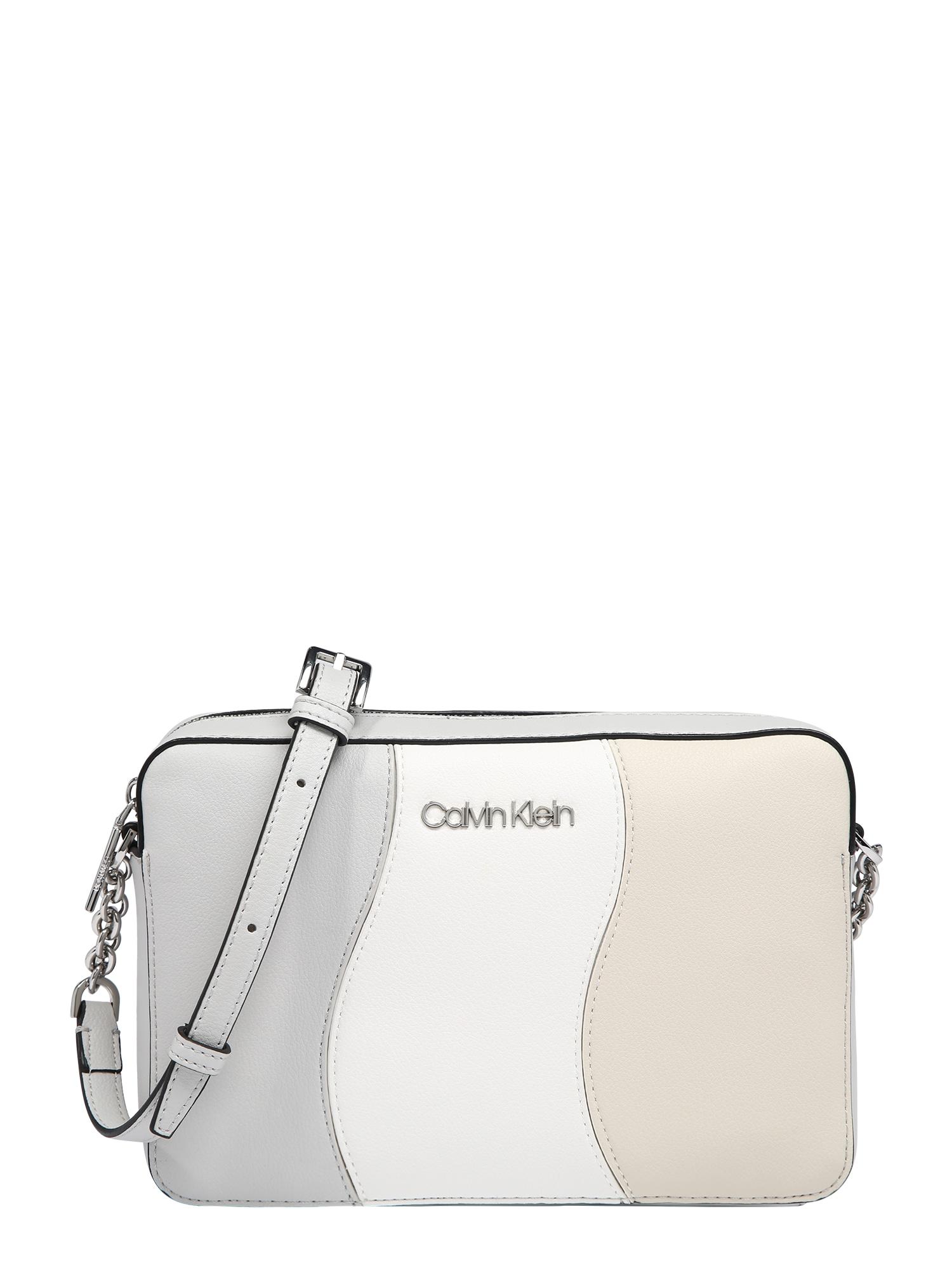Calvin Klein Rankinė su ilgu dirželiu kremo / šviesiai pilka / balta