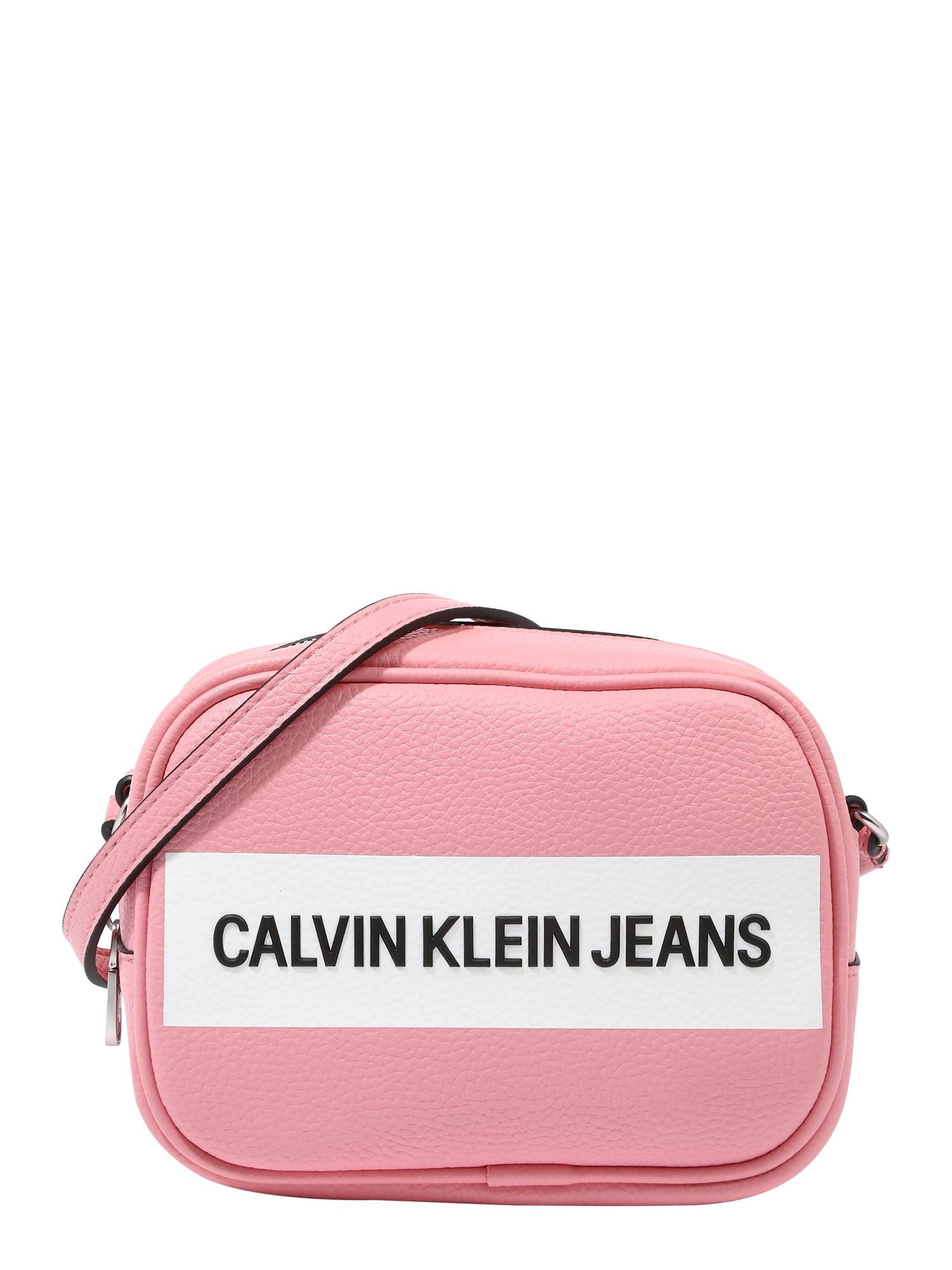 Calvin Klein Jeans Rankinė su ilgu dirželiu balta / juoda / rožių spalva