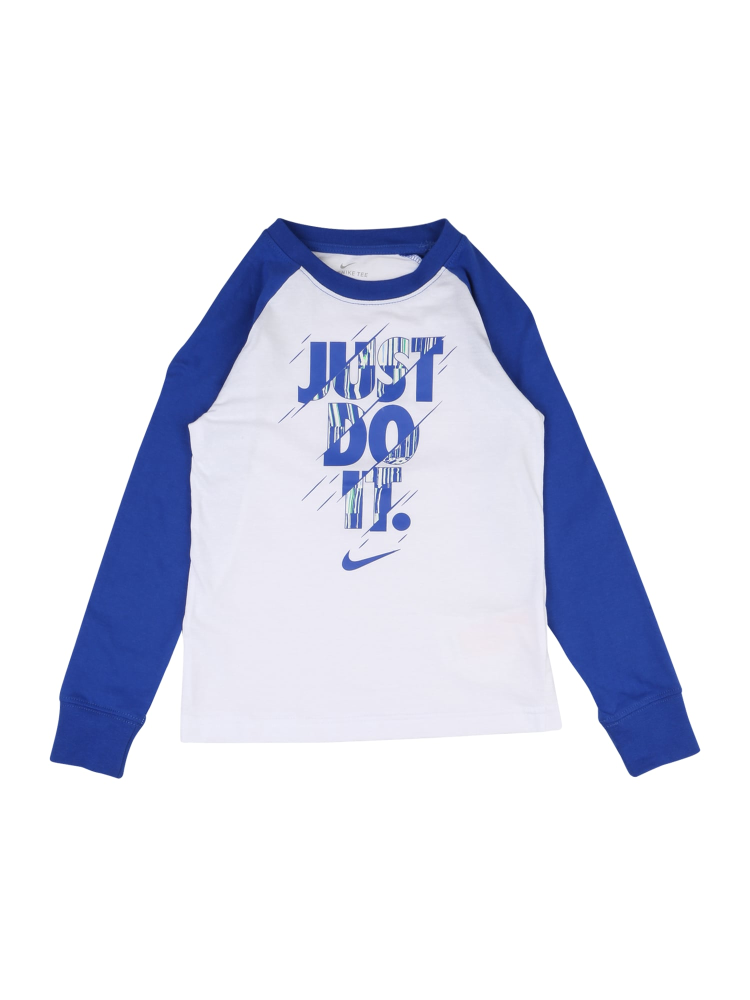 "Nike Sportswear Megztinis be užsegimo 'SPLIT' balta / sodri mėlyna (""karališka"")"