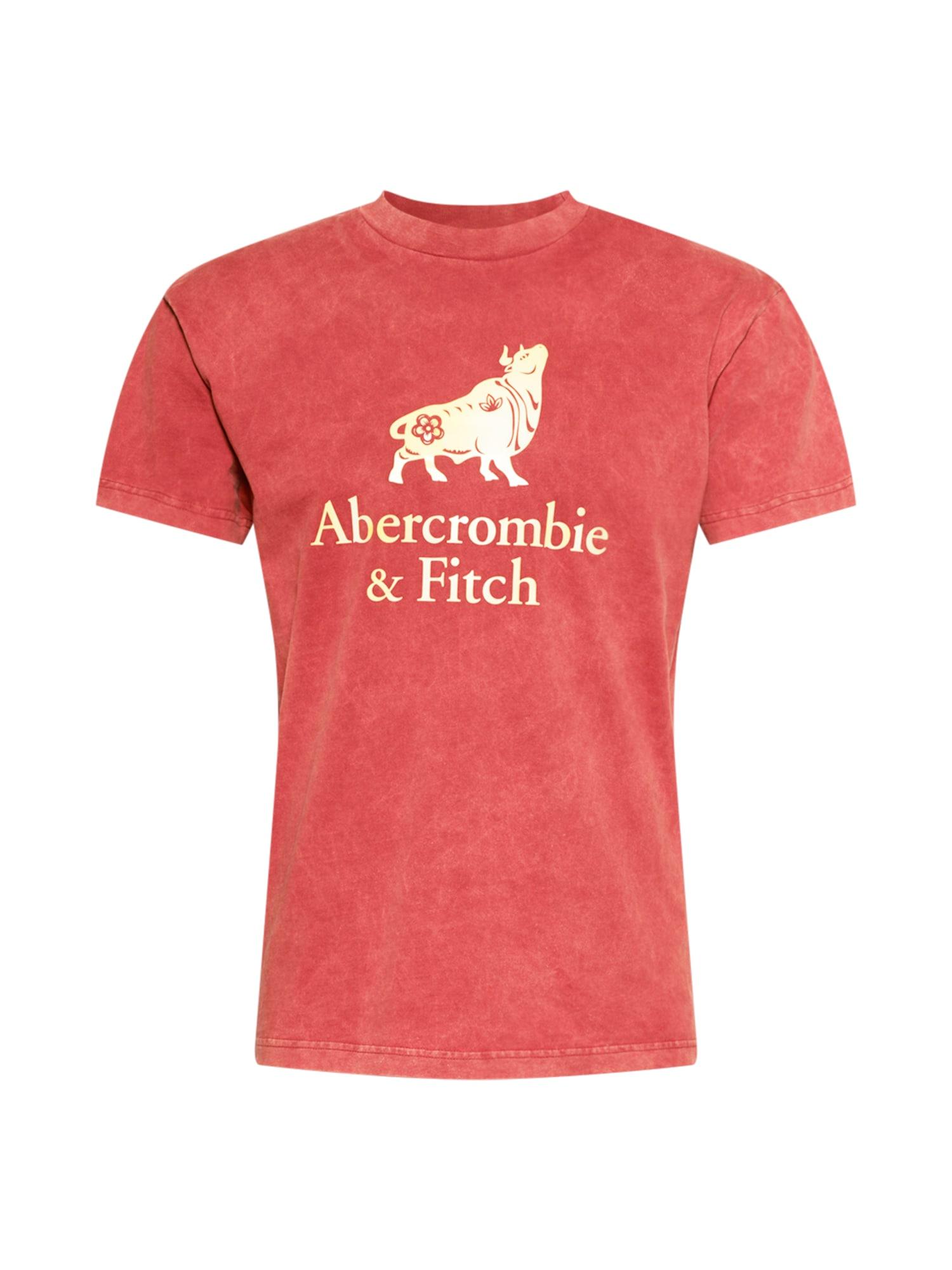 Abercrombie & Fitch Marškinėliai raudona / pastelinė geltona