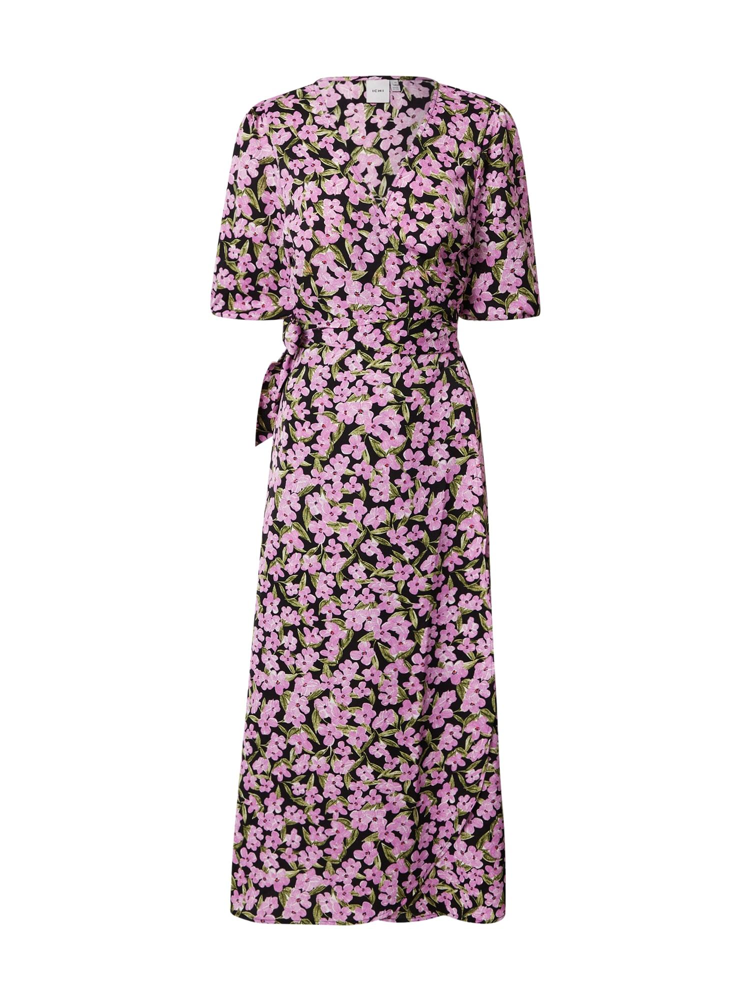 ICHI Šaty  fialová / černá / zelená