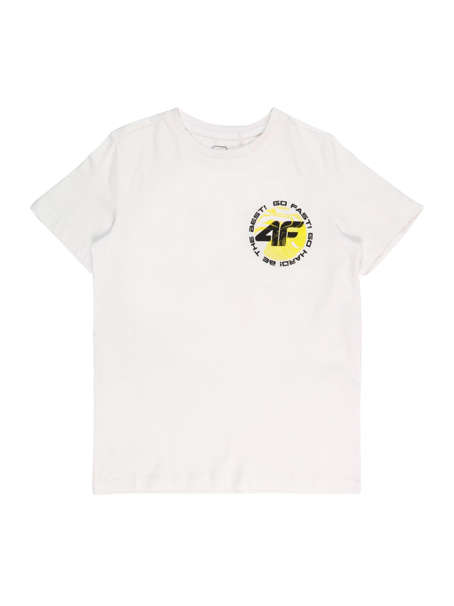 4F Sportiniai marškinėliai balta / juoda / geltona