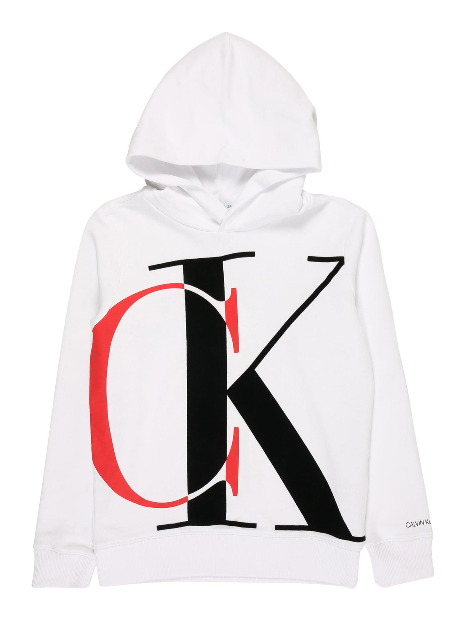 Calvin Klein Jeans Mikina  bílá / červená / černá