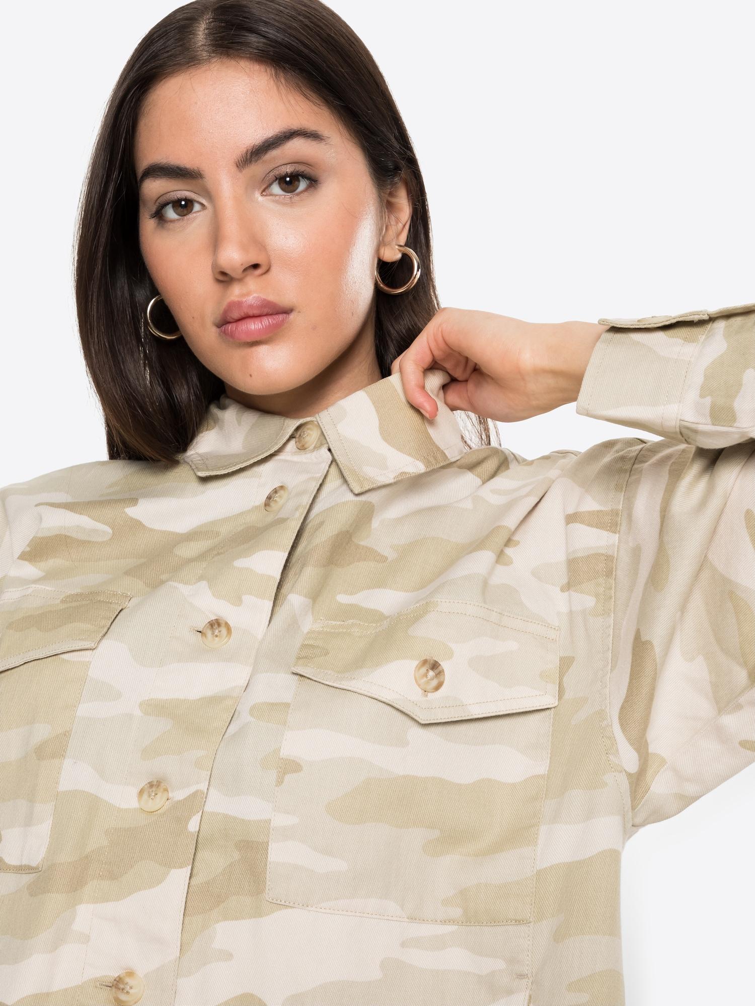 American Eagle Prechodná bunda  svetlohnedá / svetlosivá / biela.