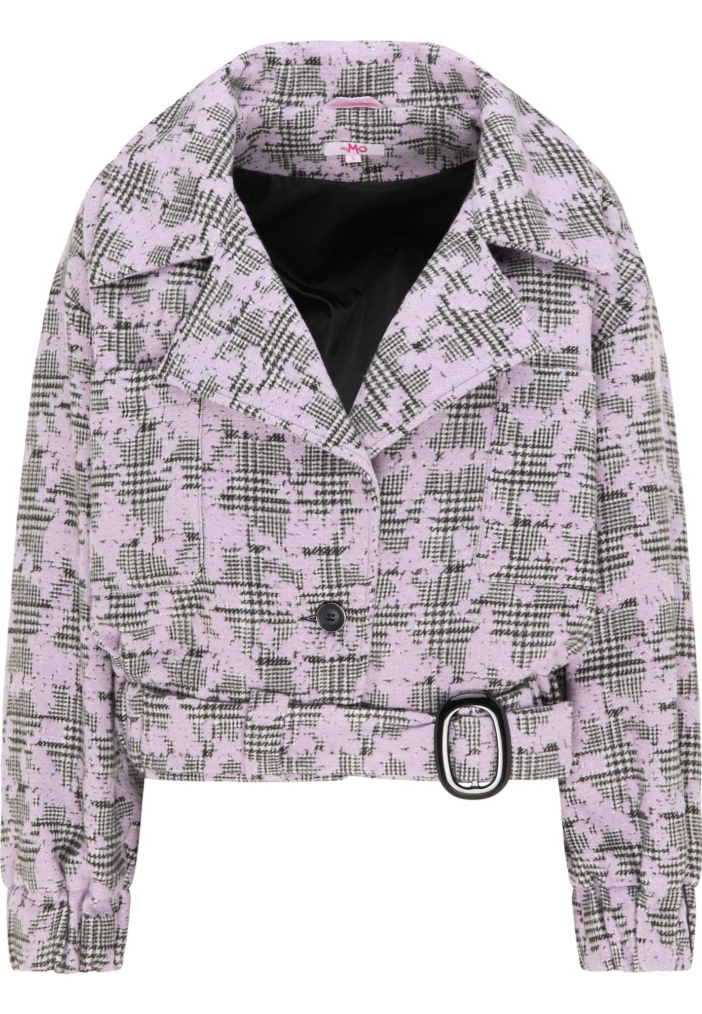 MYMO Demisezoninė striukė pilka / rausvai violetinė spalva
