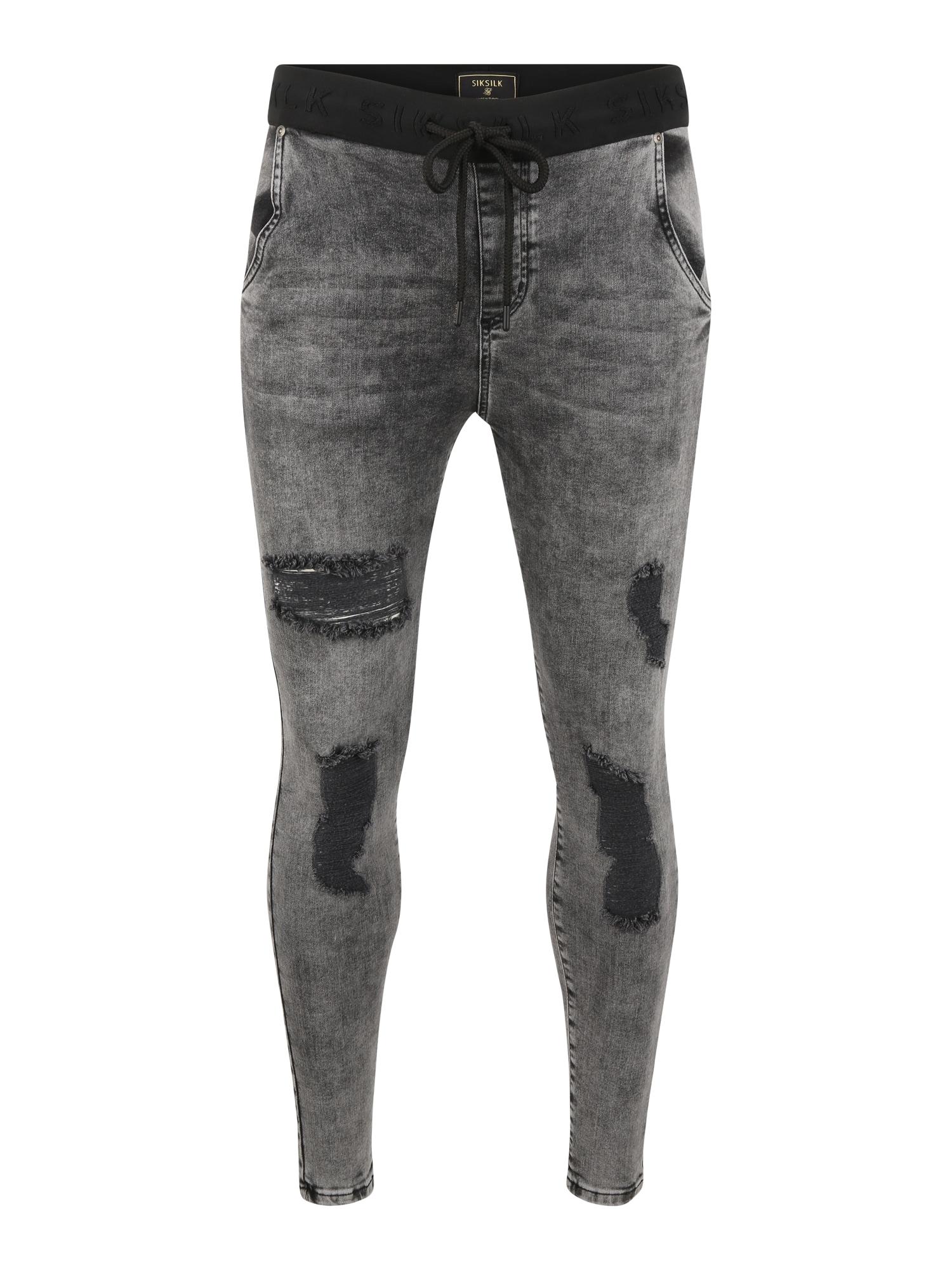 SikSilk Džinsai juodo džinso spalva