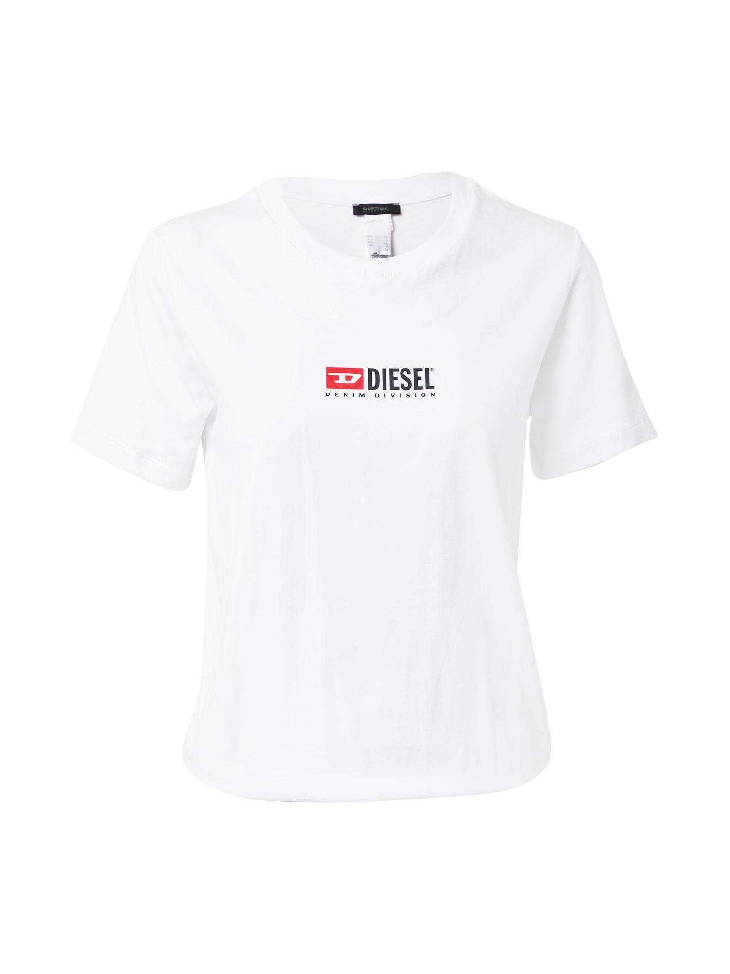 DIESEL Marškinėliai-glaustinukė balta / juoda / šviesiai raudona