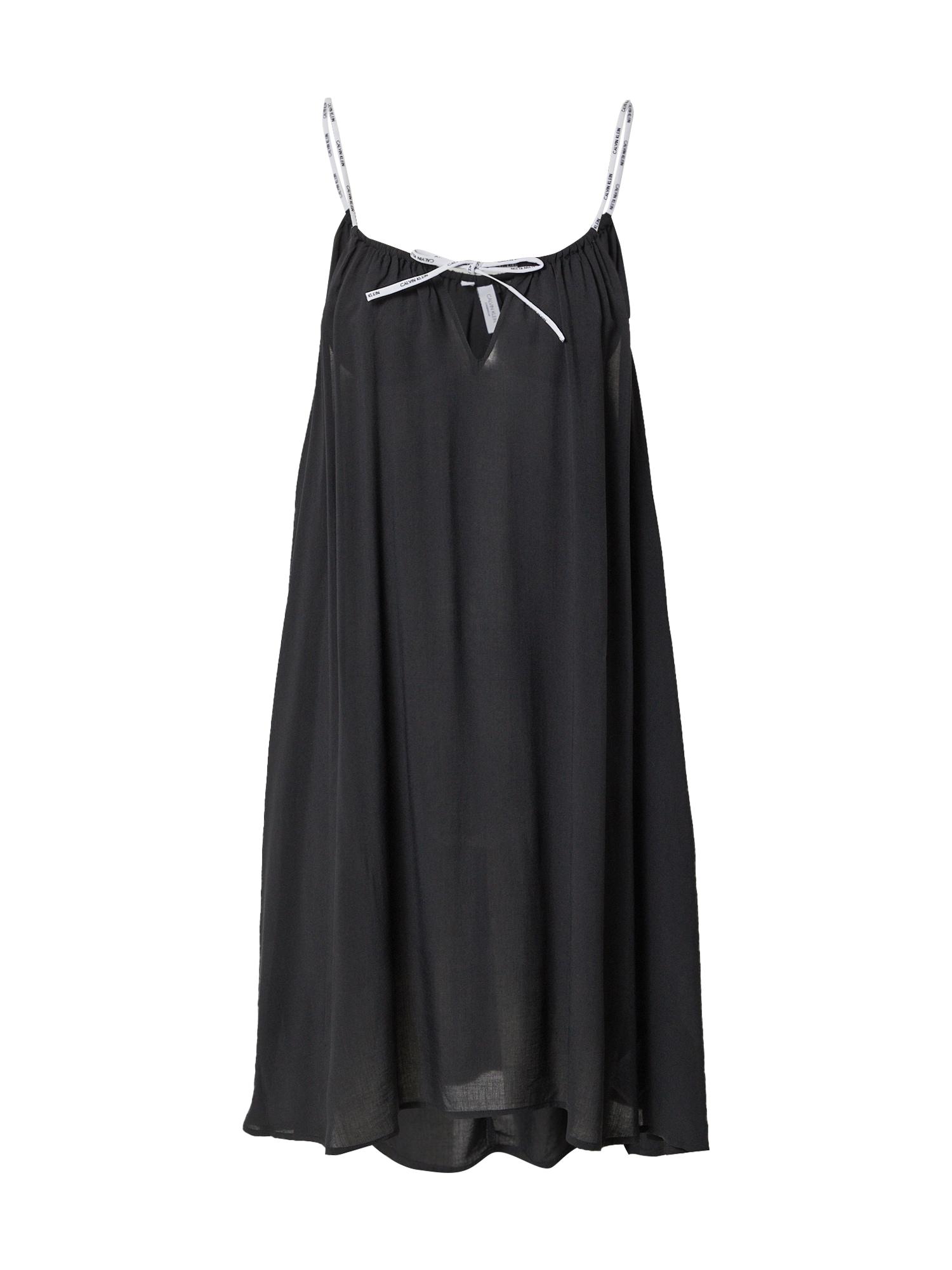 Calvin Klein Swimwear Negližė juoda / balta