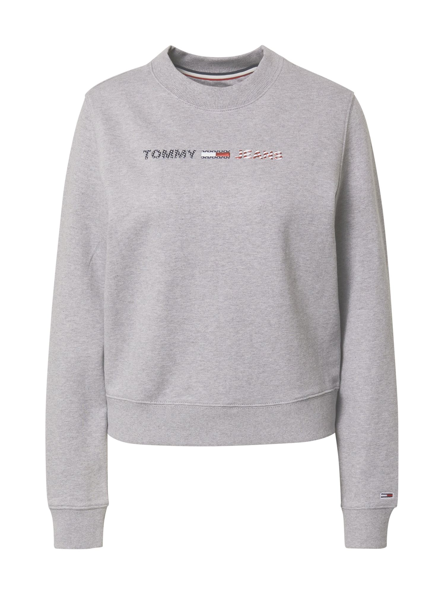 Tommy Jeans Mikina  světle šedá / červená / námořnická modř / bílá
