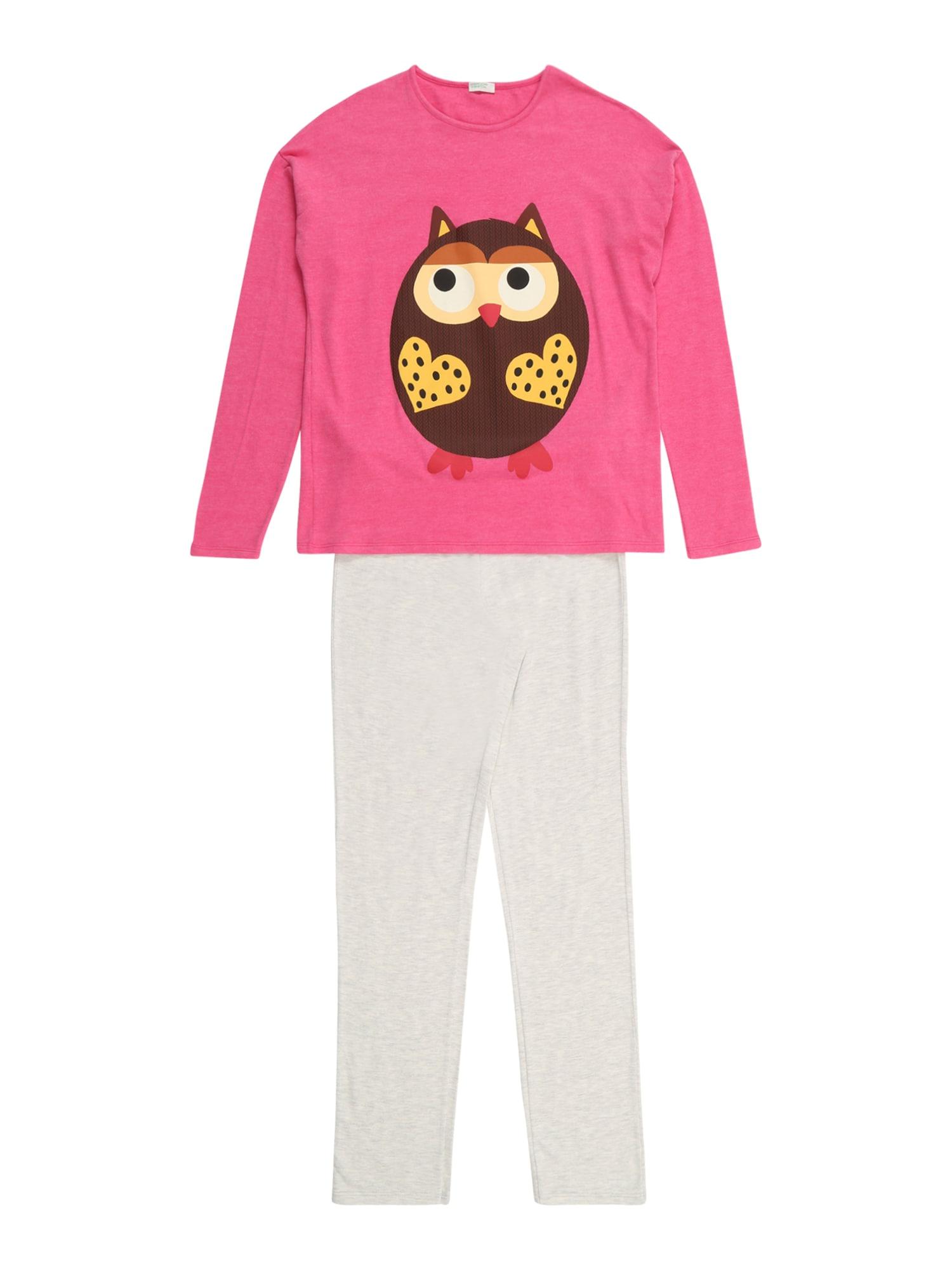 UNITED COLORS OF BENETTON Miego kostiumas balta / rožinė / ruda / smėlio / geltona