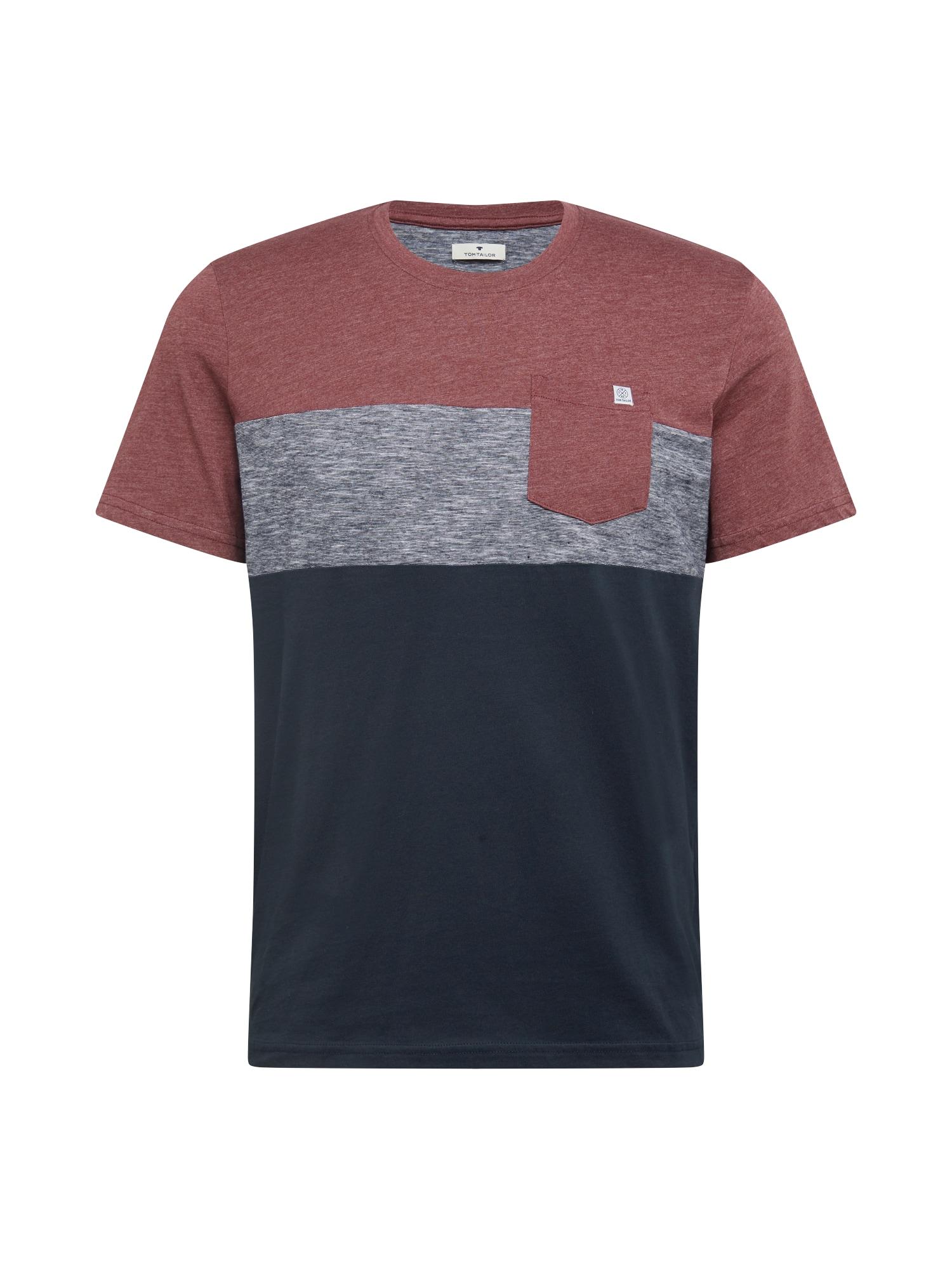TOM TAILOR Tričko  červená / šedá / noční modrá
