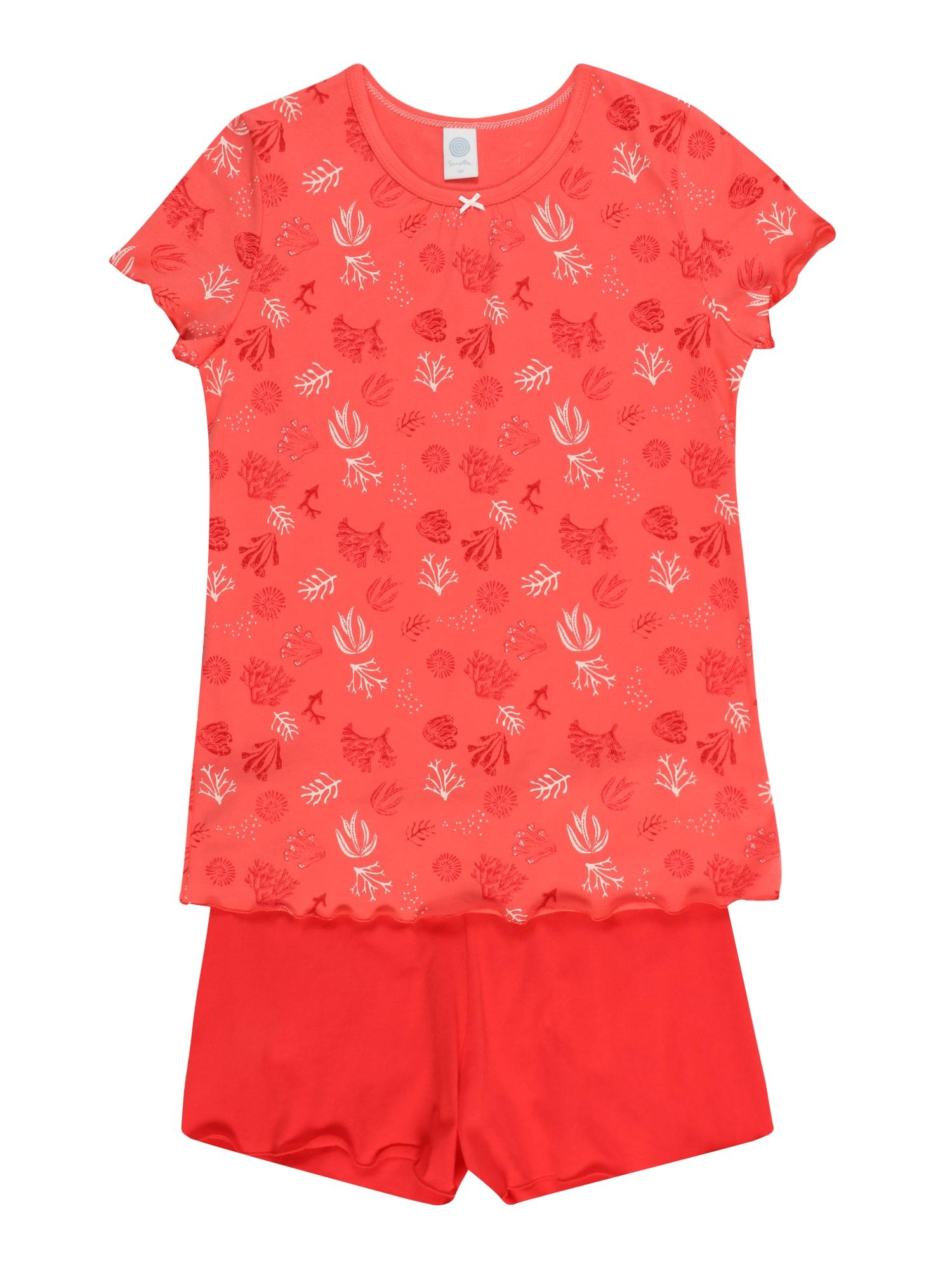 SANETTA Miego kostiumas melionų spalva / šviesiai raudona / balta