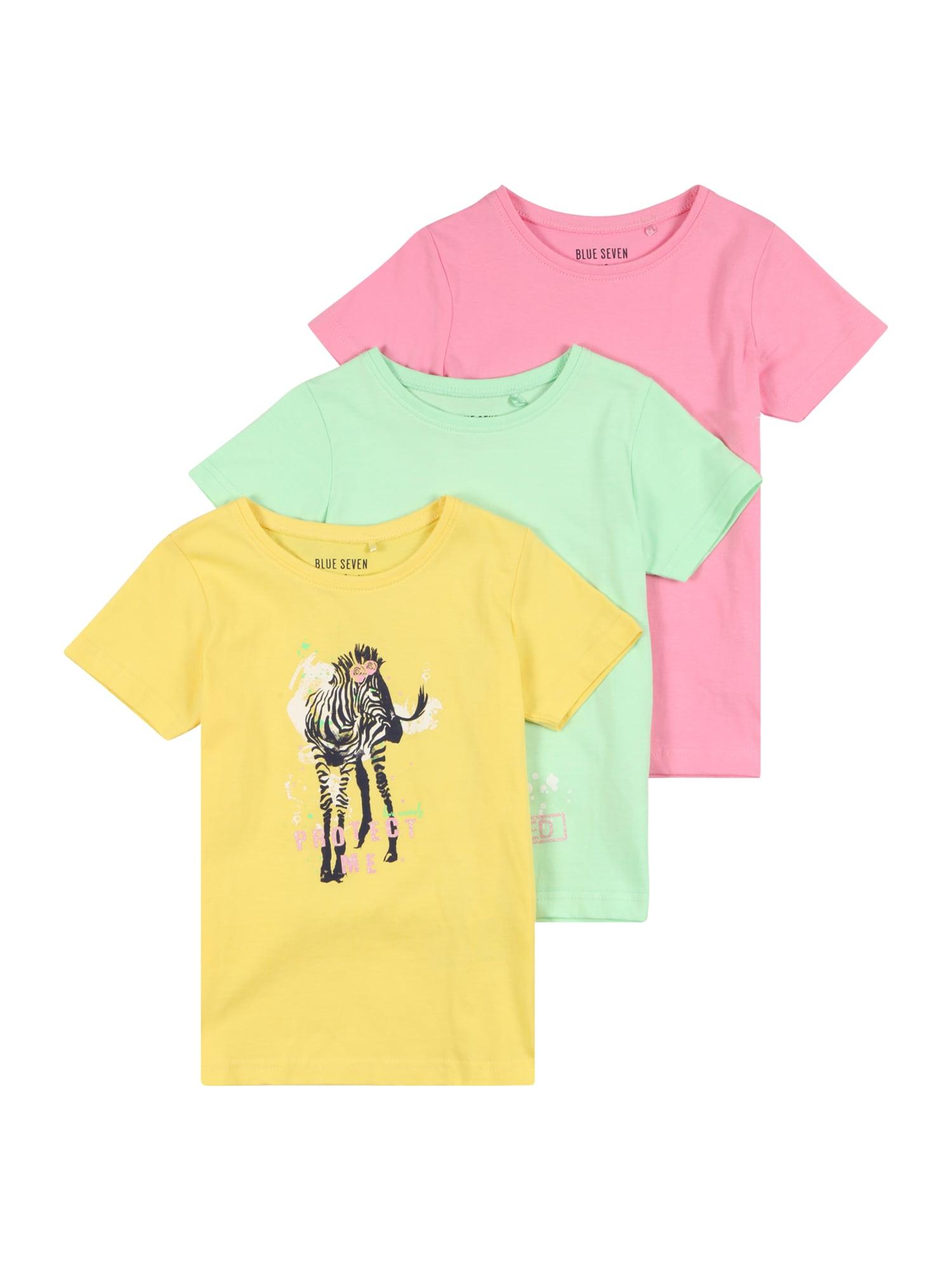 BLUE SEVEN Marškinėliai geltona / šviesiai žalia / rožinė / juoda / balta