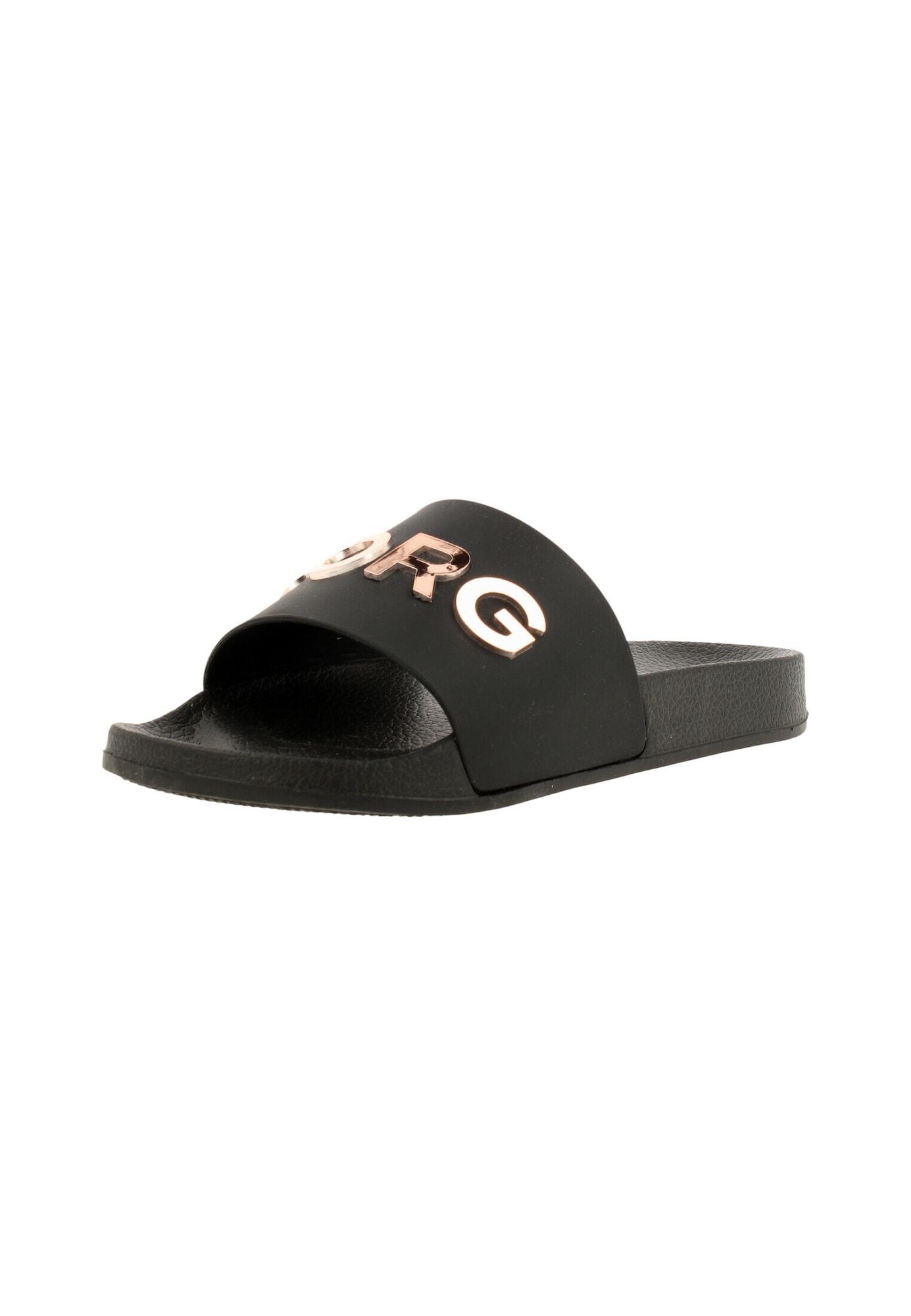 BJÖRN BORG Atviri batai juoda / rožinio aukso spalva