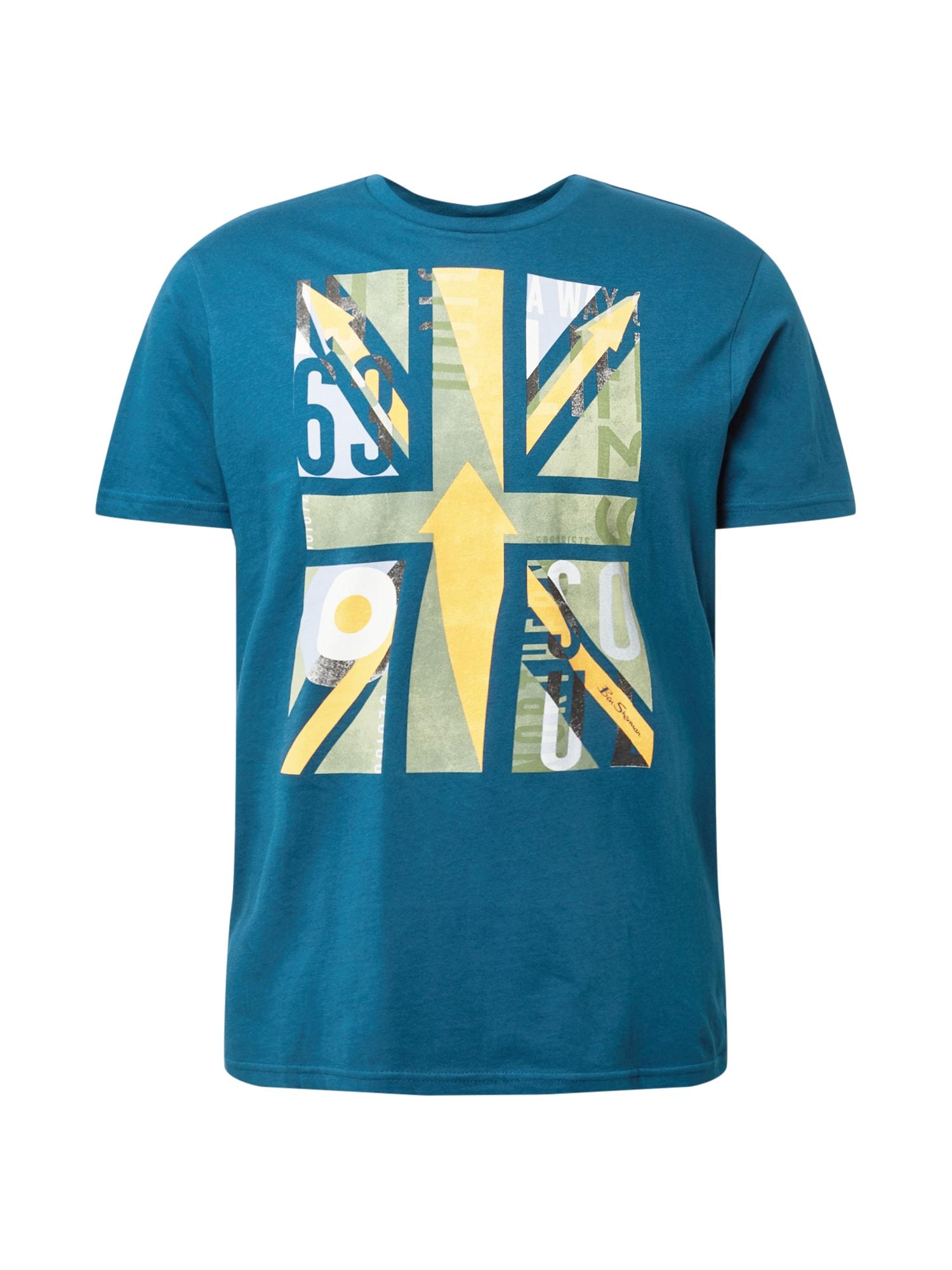 Ben Sherman Marškinėliai tamsiai mėlyna / geltona / balta / šviesiai žalia