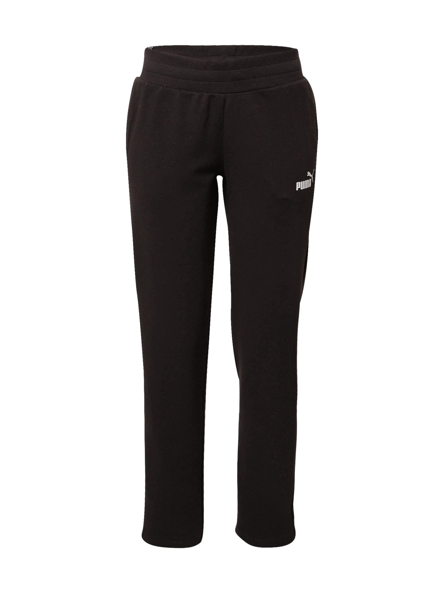 PUMA Sportinės kelnės juoda / balta