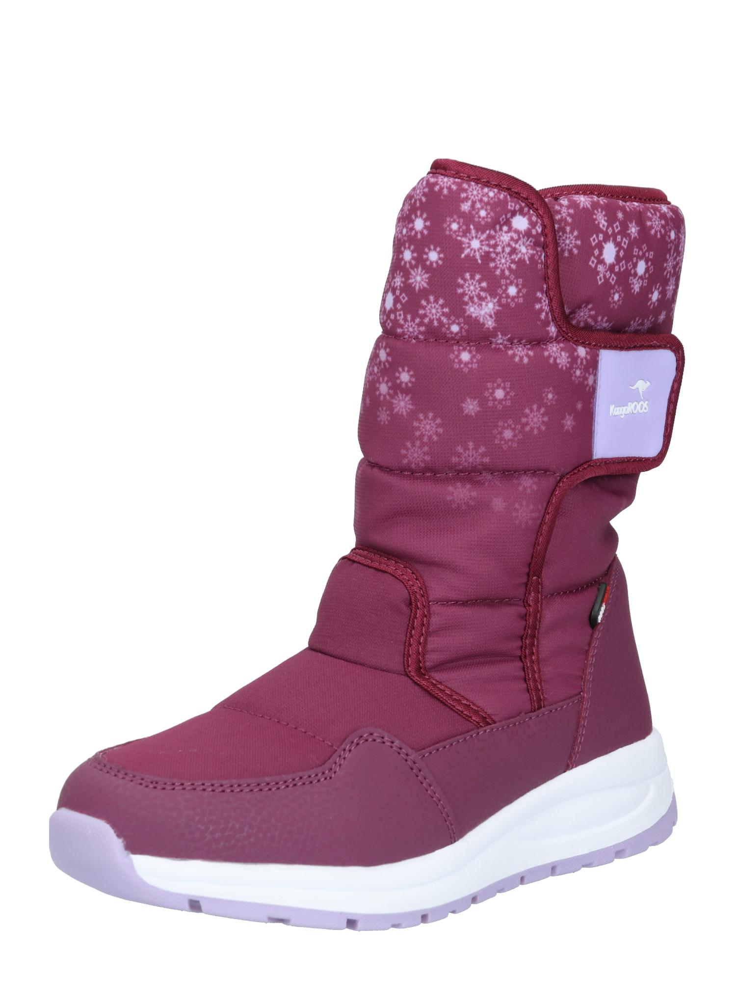 KangaROOS Sniego batai levandų spalva / fuksijų spalva / balta
