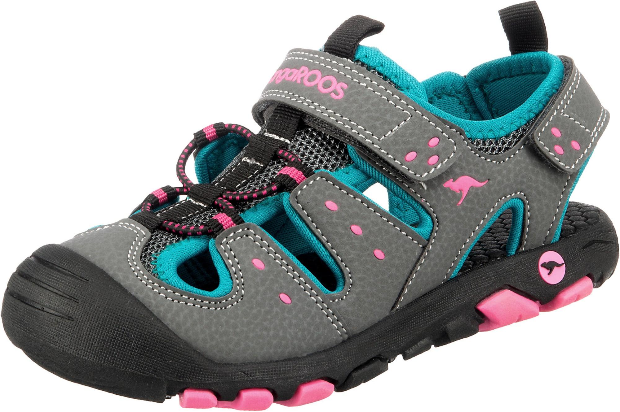KangaROOS Atviri batai tamsiai pilka / vandens spalva / šviesiai rožinė