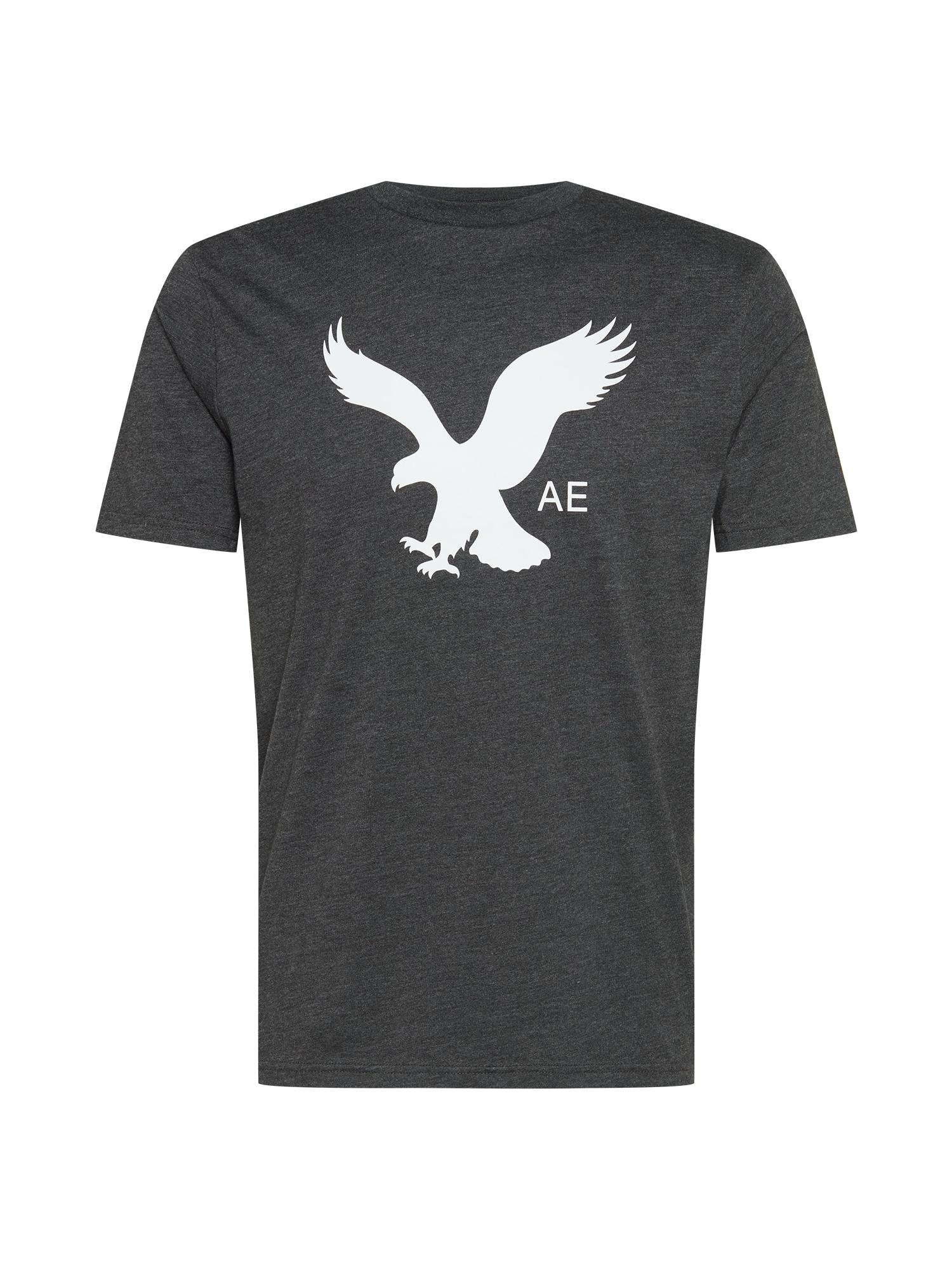 American Eagle Marškinėliai 'SINGLE DYE' tamsiai pilka / balta