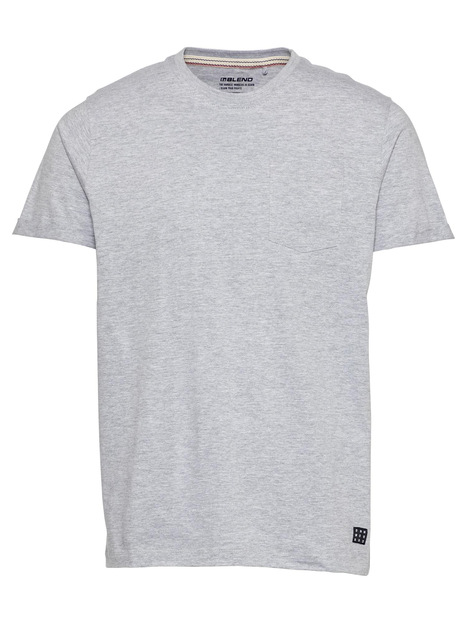 BLEND Marškinėliai šviesiai pilka / juoda