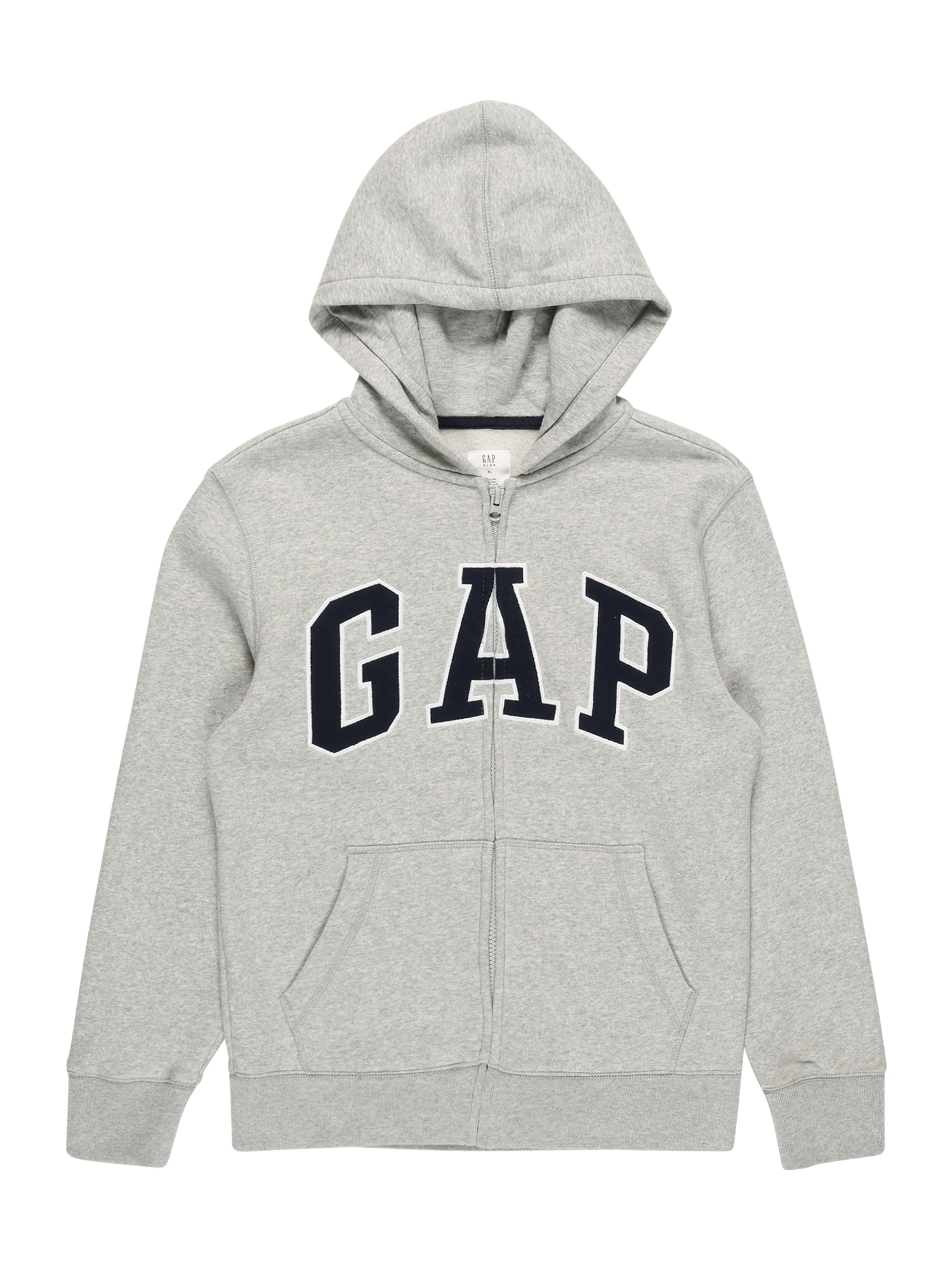 GAP Džemperis margai pilka / balta / tamsiai mėlyna