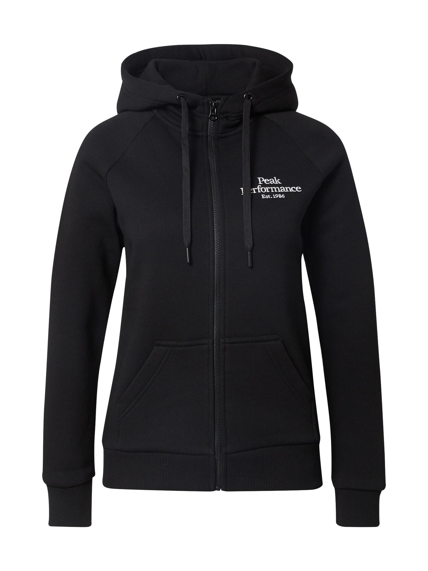 PEAK PERFORMANCE Sportinis džemperis juoda / balta